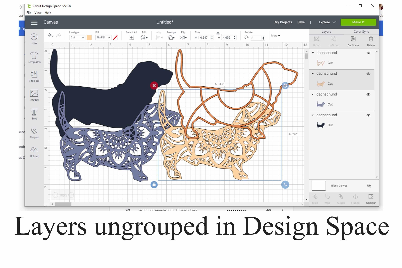 3D Layered Dachshund Mandala SVG - 4 Layers example image 2