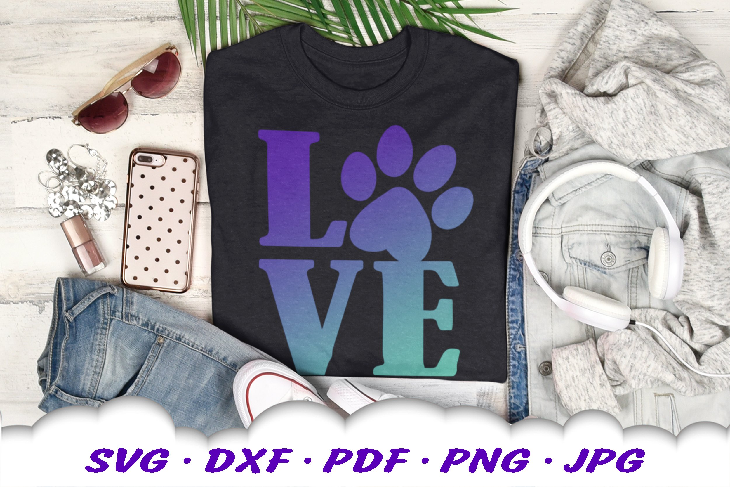 Dog Mom Paw Print Love SVG DXF Cut Files example image 3