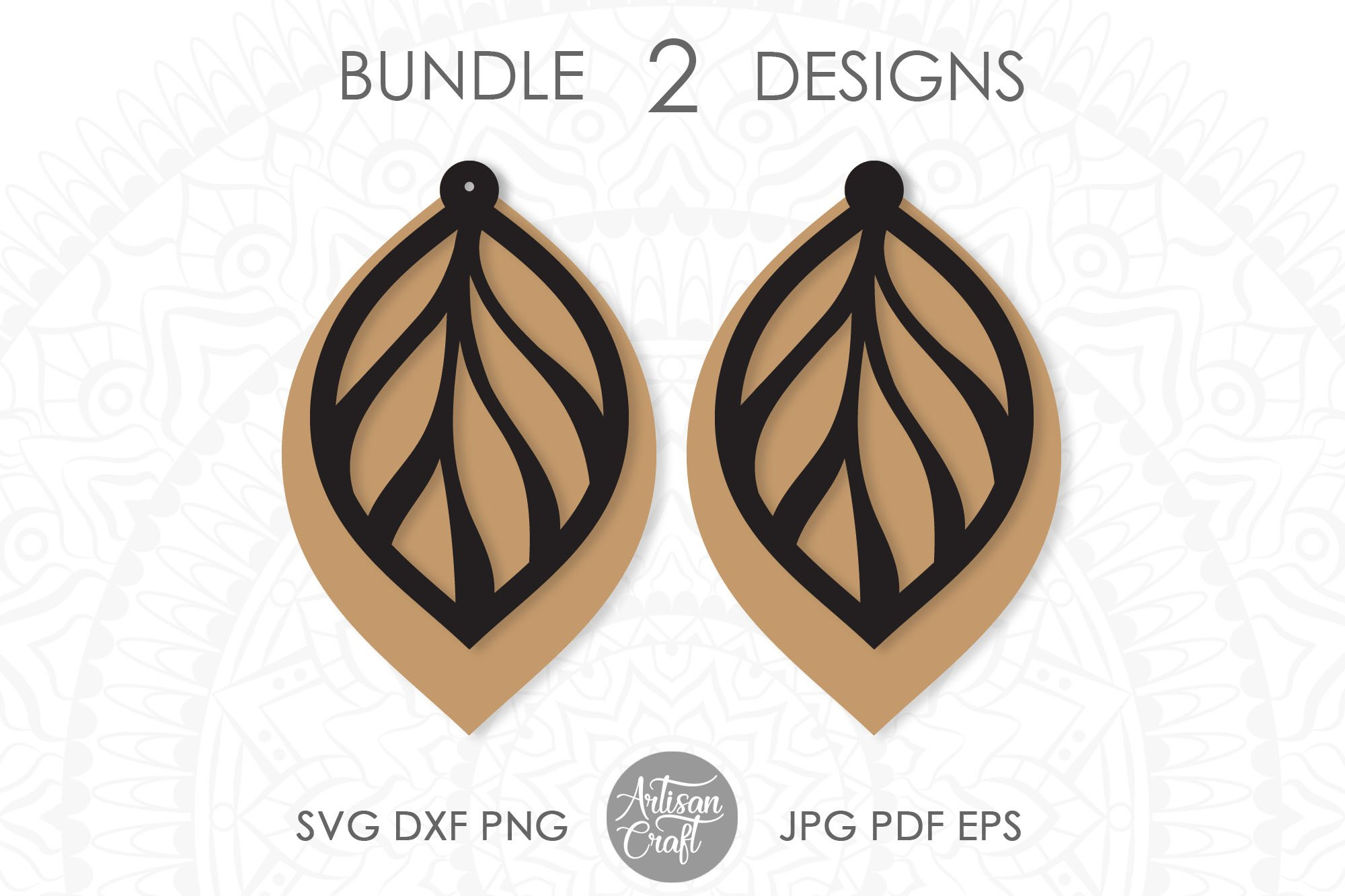Leaf earring svg, faux leather earrings template example image 4