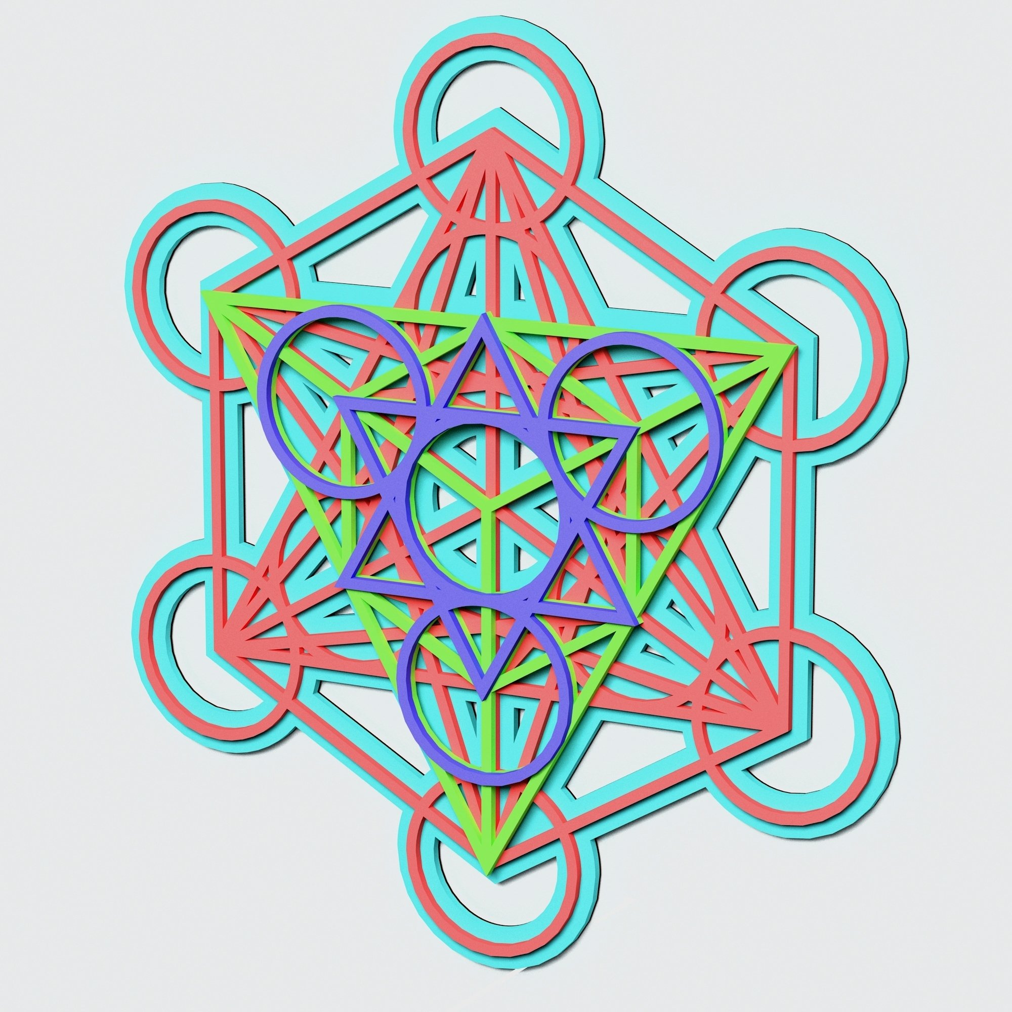 Metatron's Cube Multilayer Mandala, Vector file for cutting example image 6