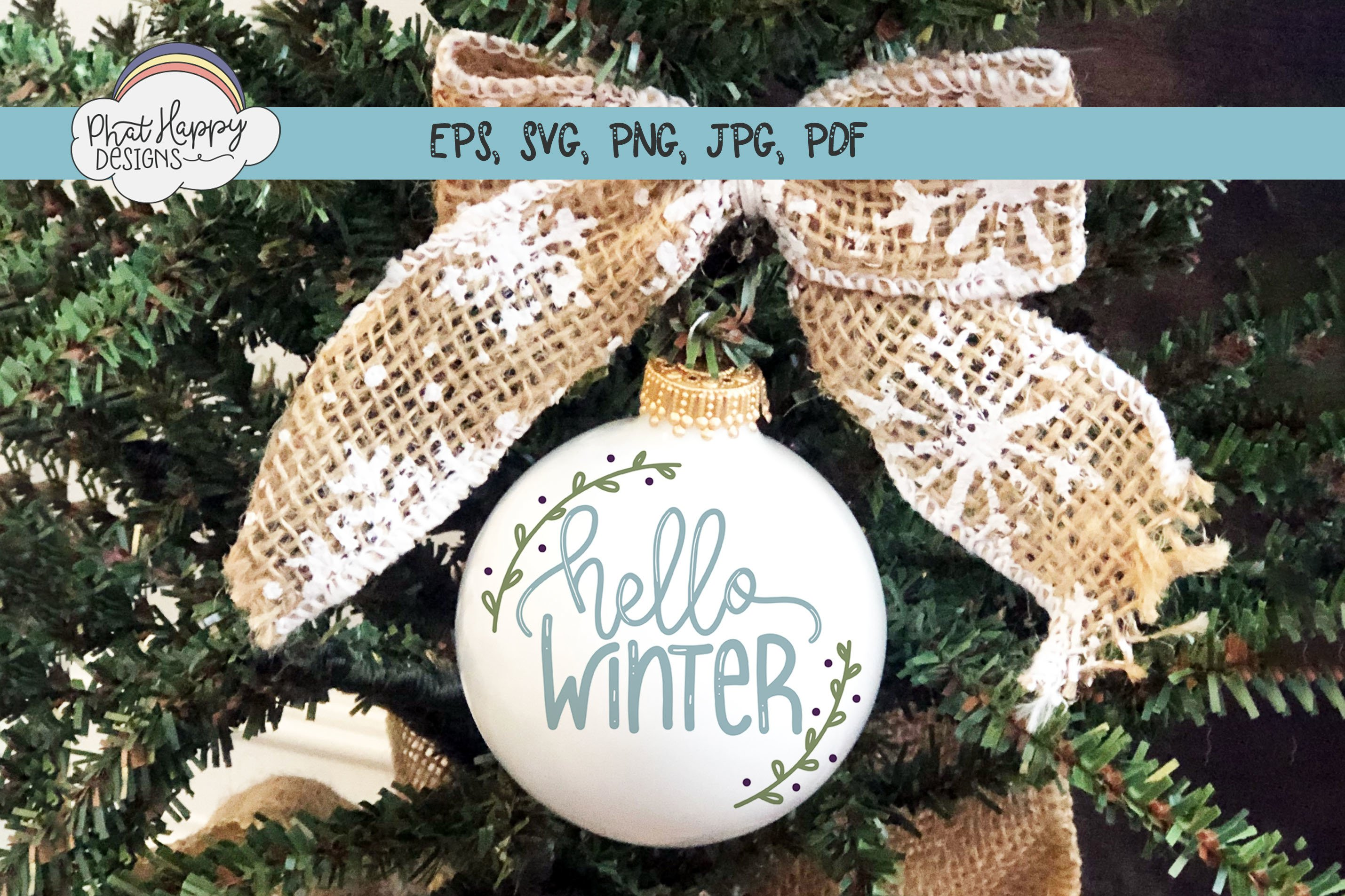 Hello Winter - Hand Lettered Christmas SVG example image 2