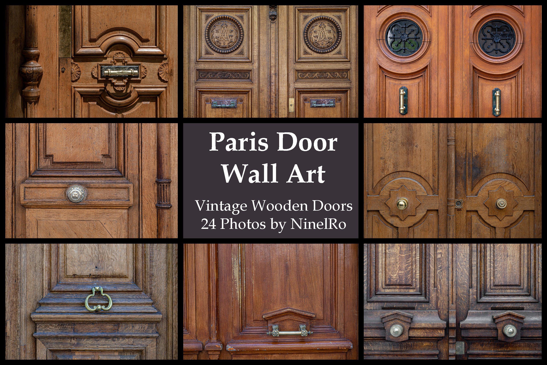 Paris door wall art set of 24 photos. Vintage wooden doors example image 1