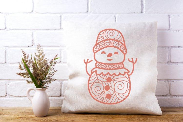 Snowman Doodle Mandala SVG example image 5