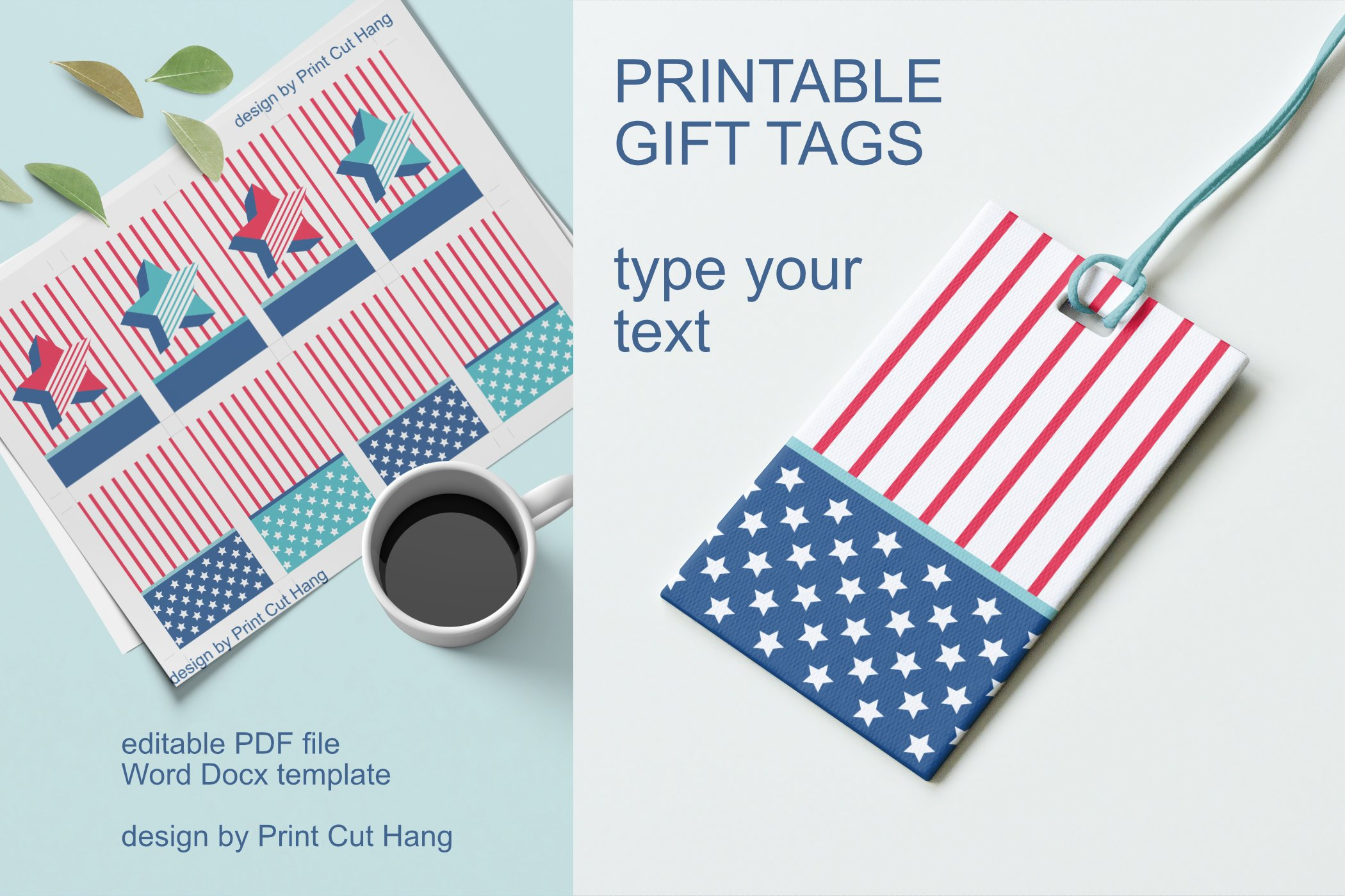 Patriotic Tags with Star Printable Editable PDF Tag Template example image 4