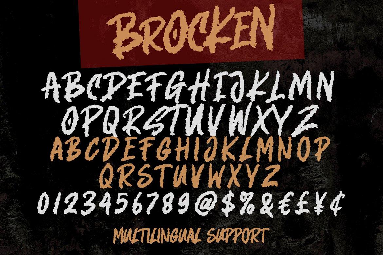 Brocken - Caps Rough Font example image 7