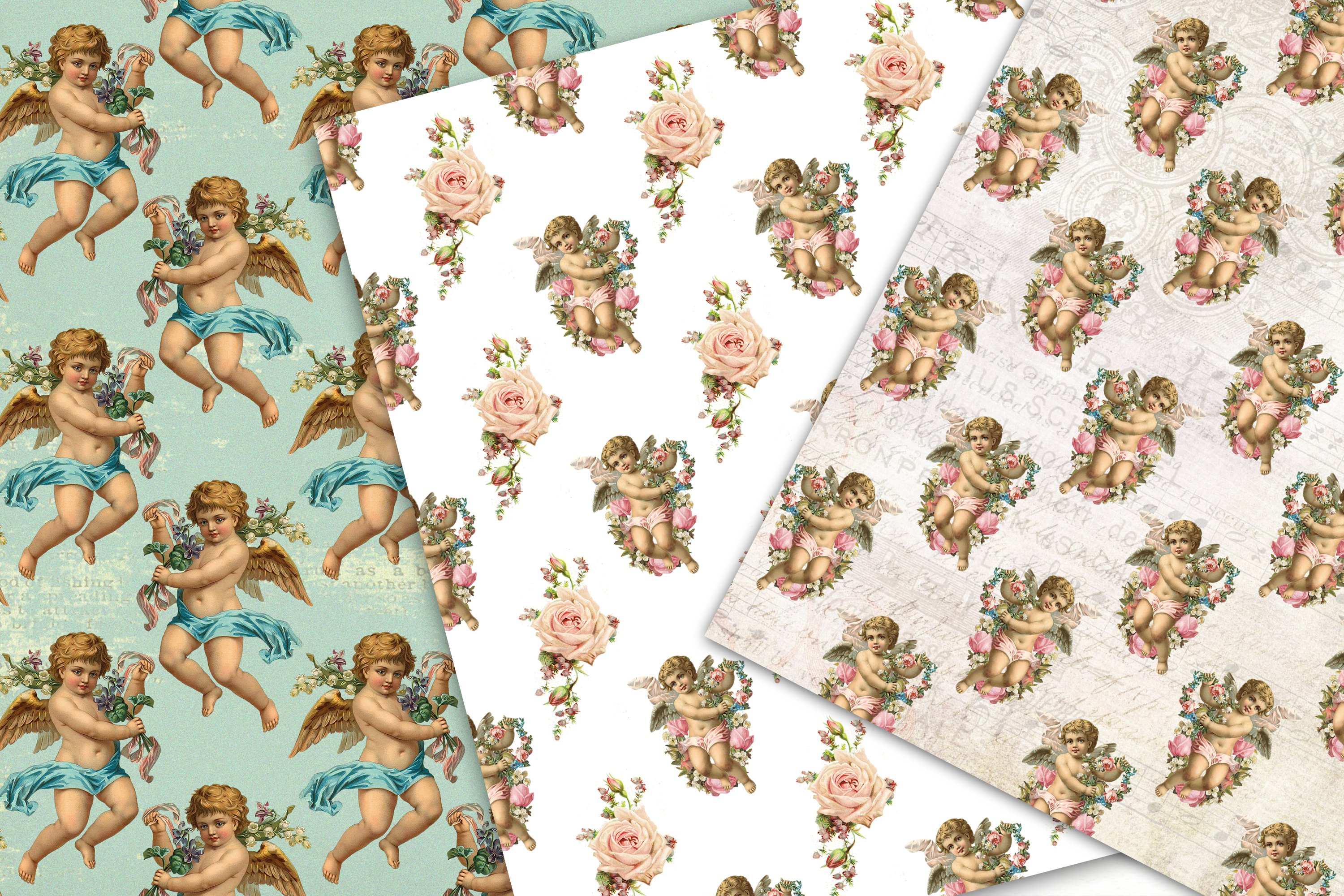 Cherub Angel, Seamless Paper Pack, Digital Background example image 5