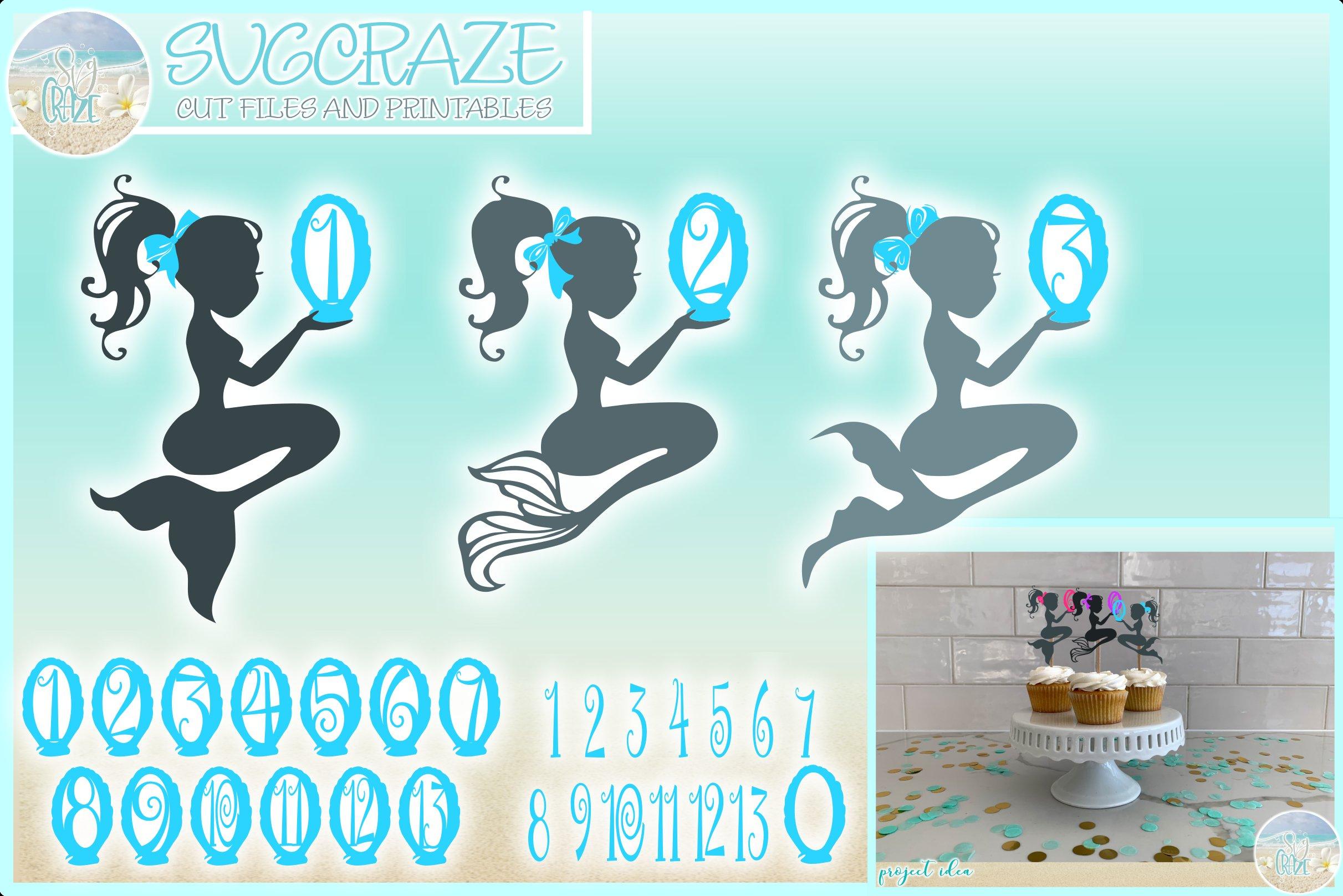Mermaid Birthday Decoration Cake Topper Svg 261285 Svgs Design Bundles