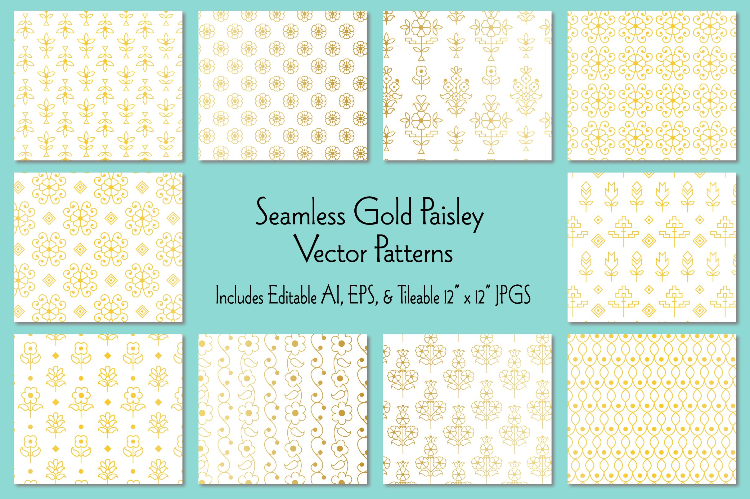Seamless Gold Paisley Patterns example image 1