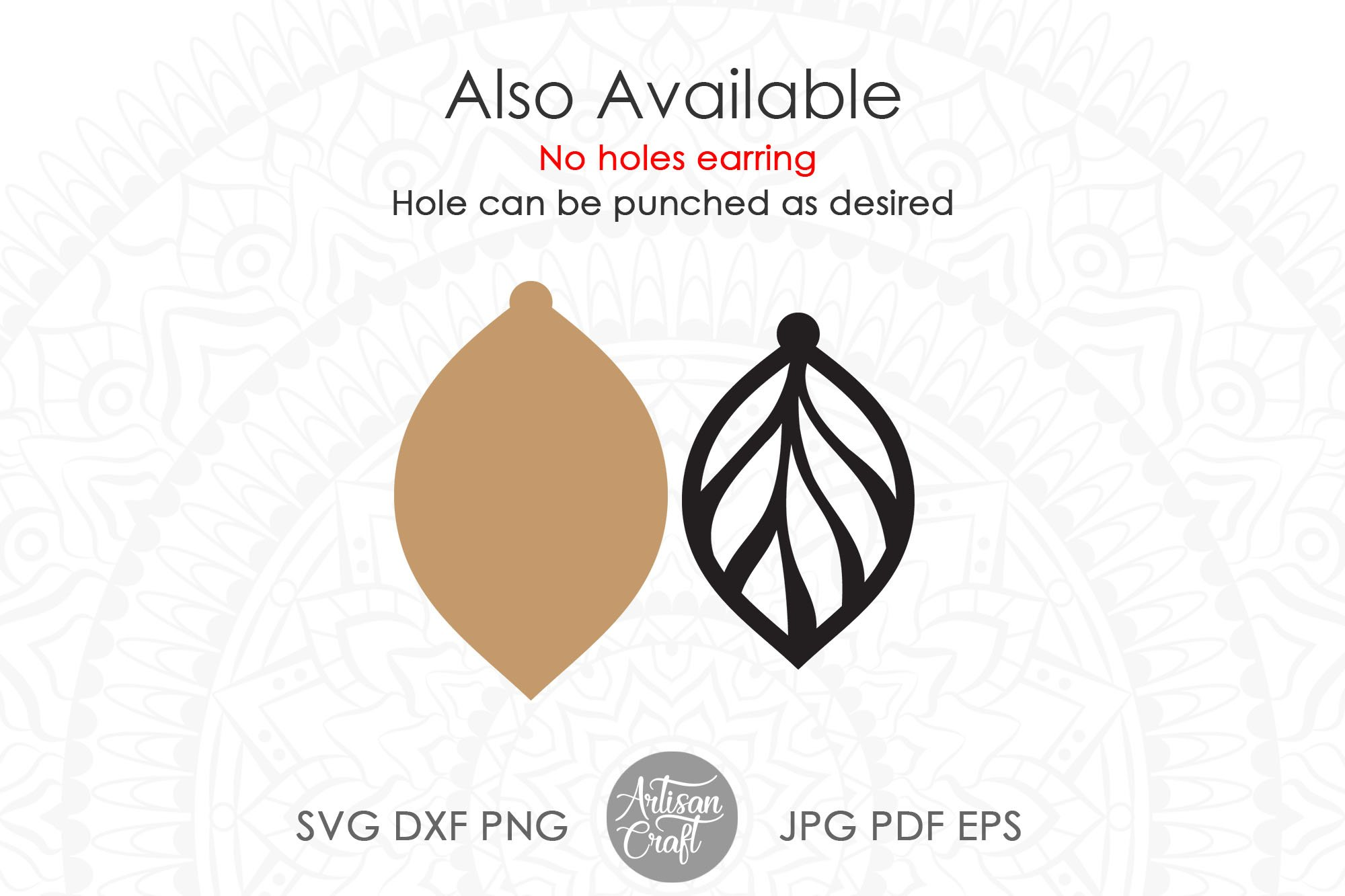 Leaf earring svg, faux leather earrings template example image 2