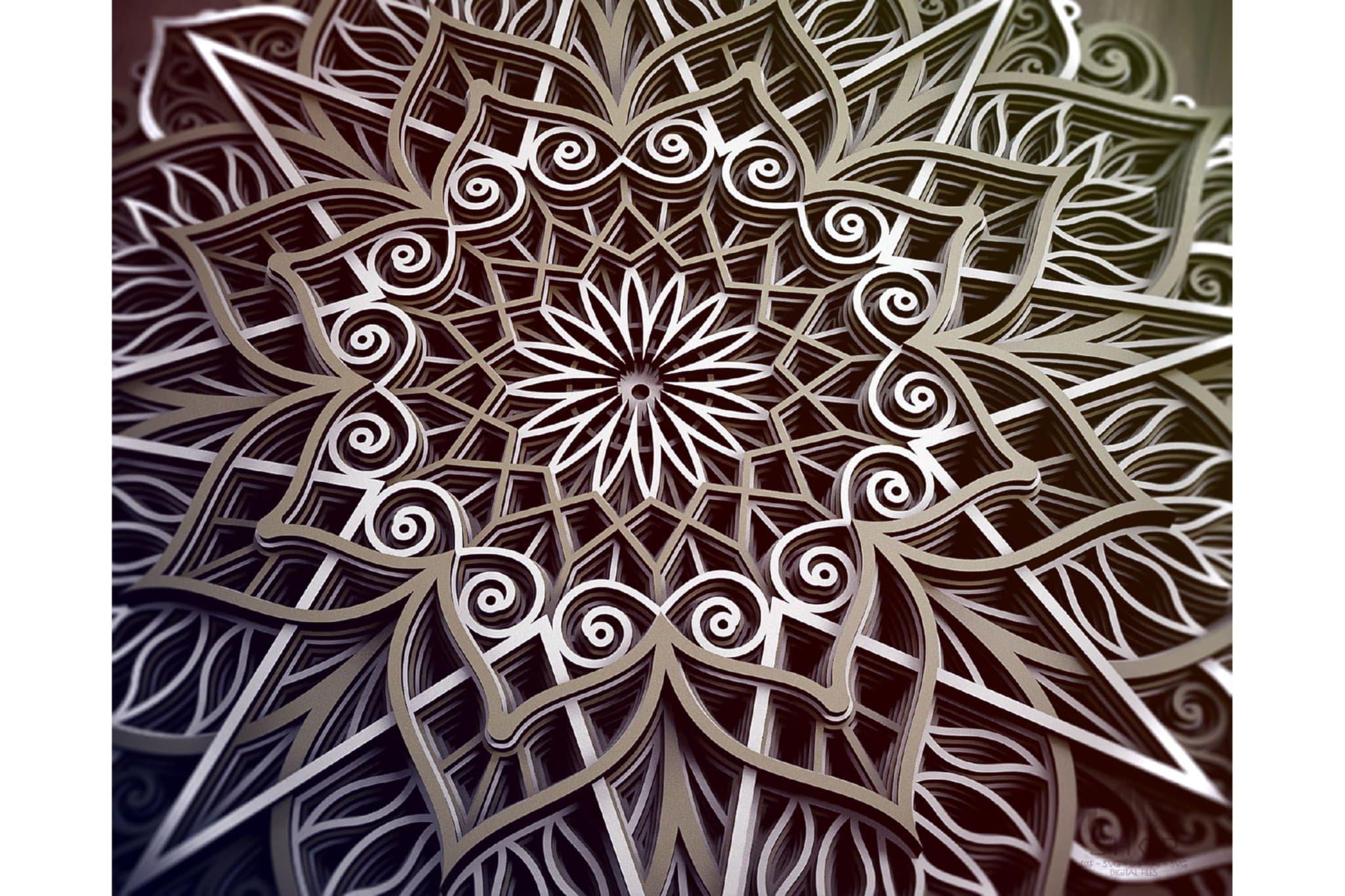 M89 - Mandala DXF Laser Cut Pattern, Flower mandala pattern example image 3