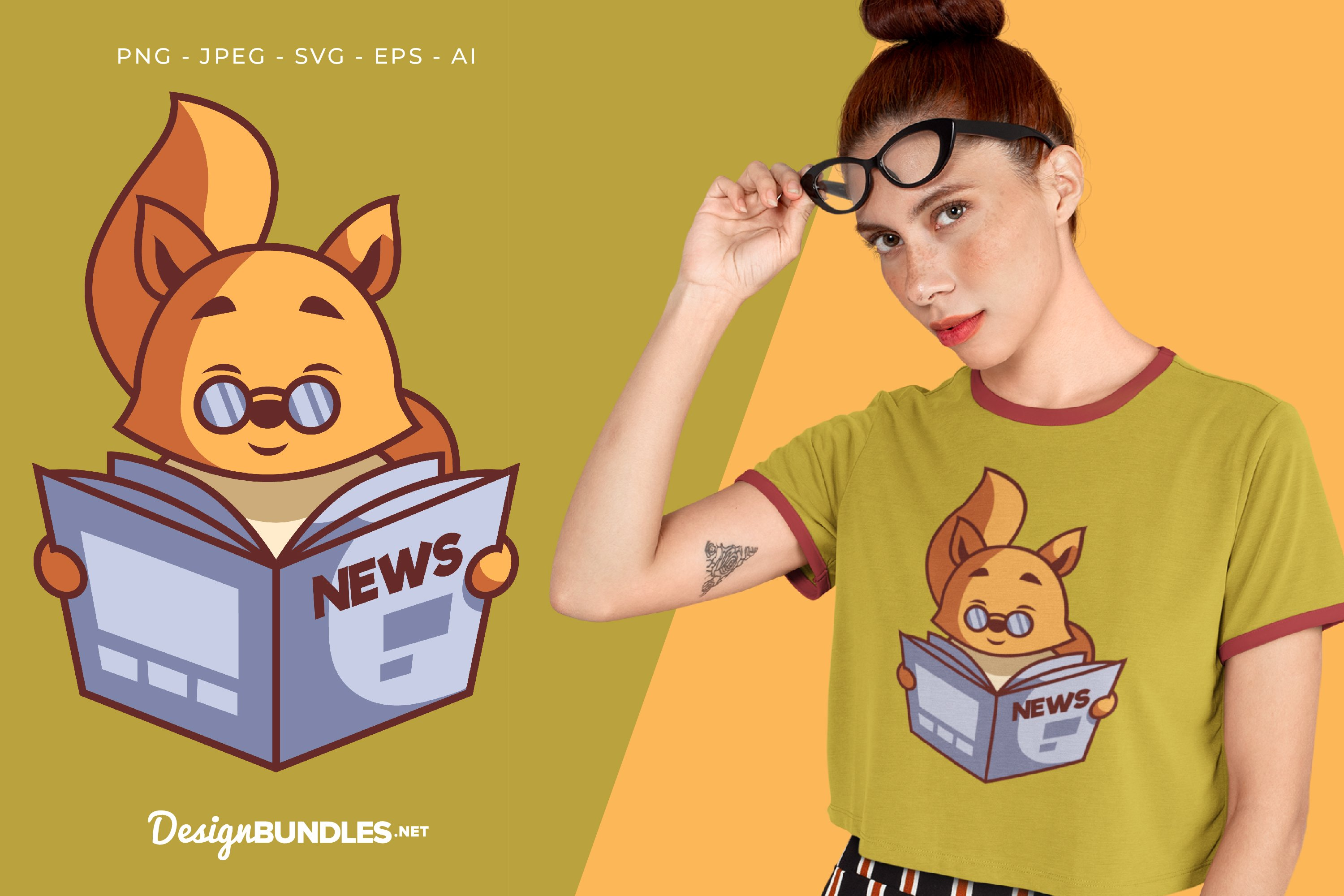 Fox is Reading The News Vector Illustration For T-Shirt example image 1