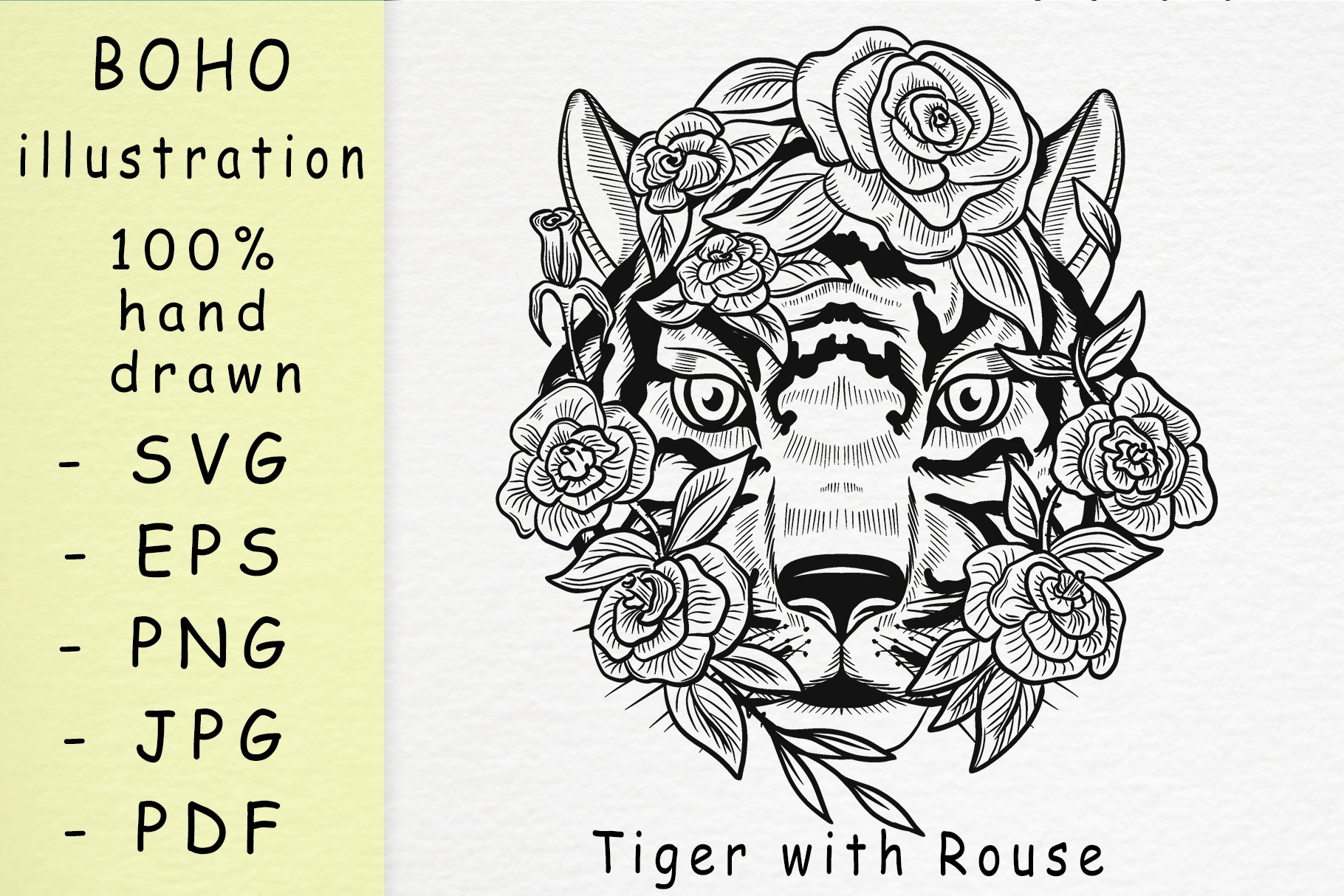 Boho illustration /Tiger With Rouse example image 1