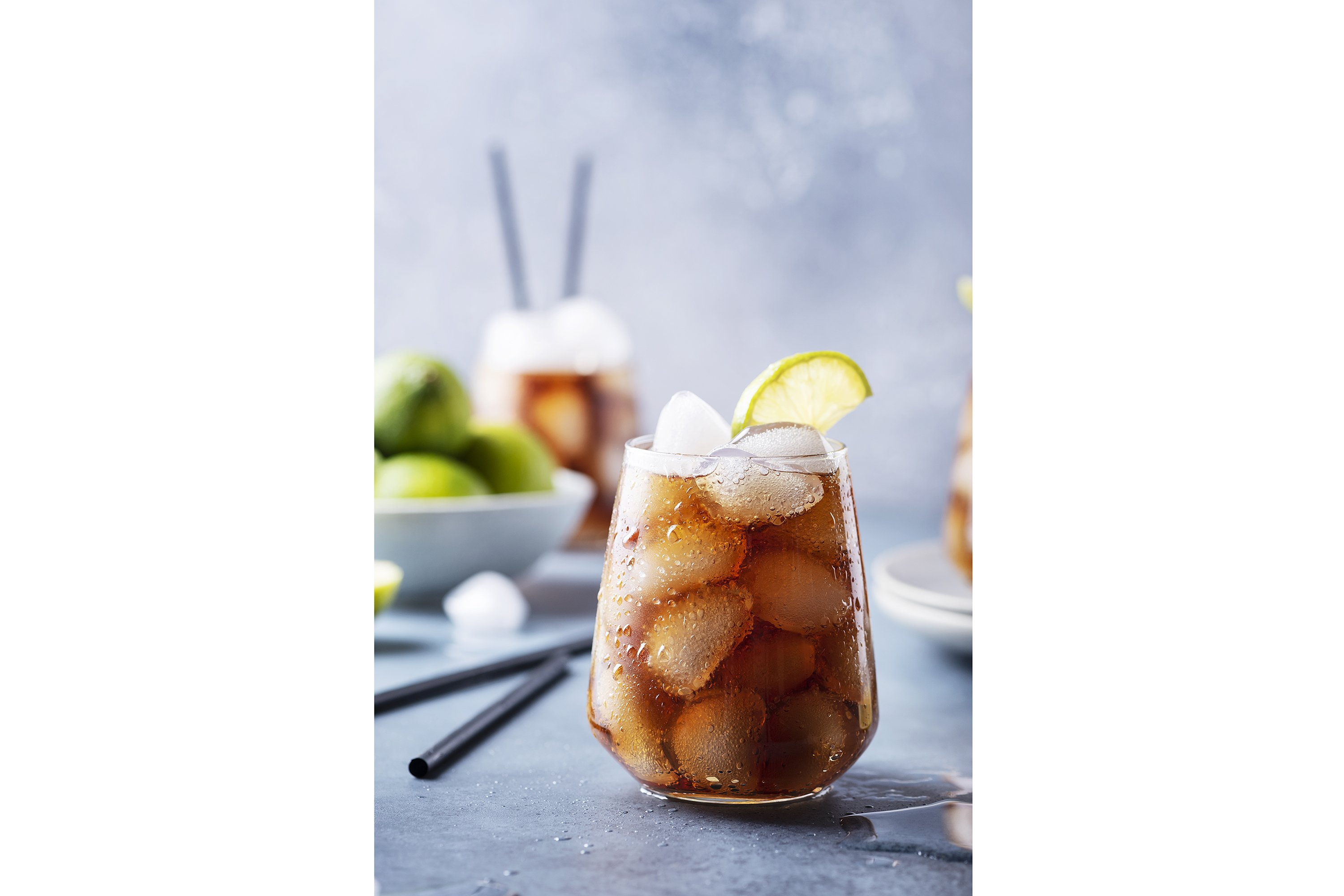 Traditional cocktail Cuba libre with rum, lime and cola example image 1