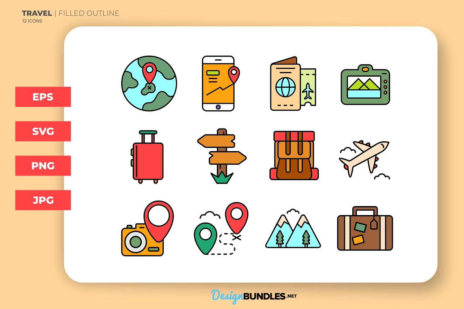 Travel Filled Outline Icons example image 1