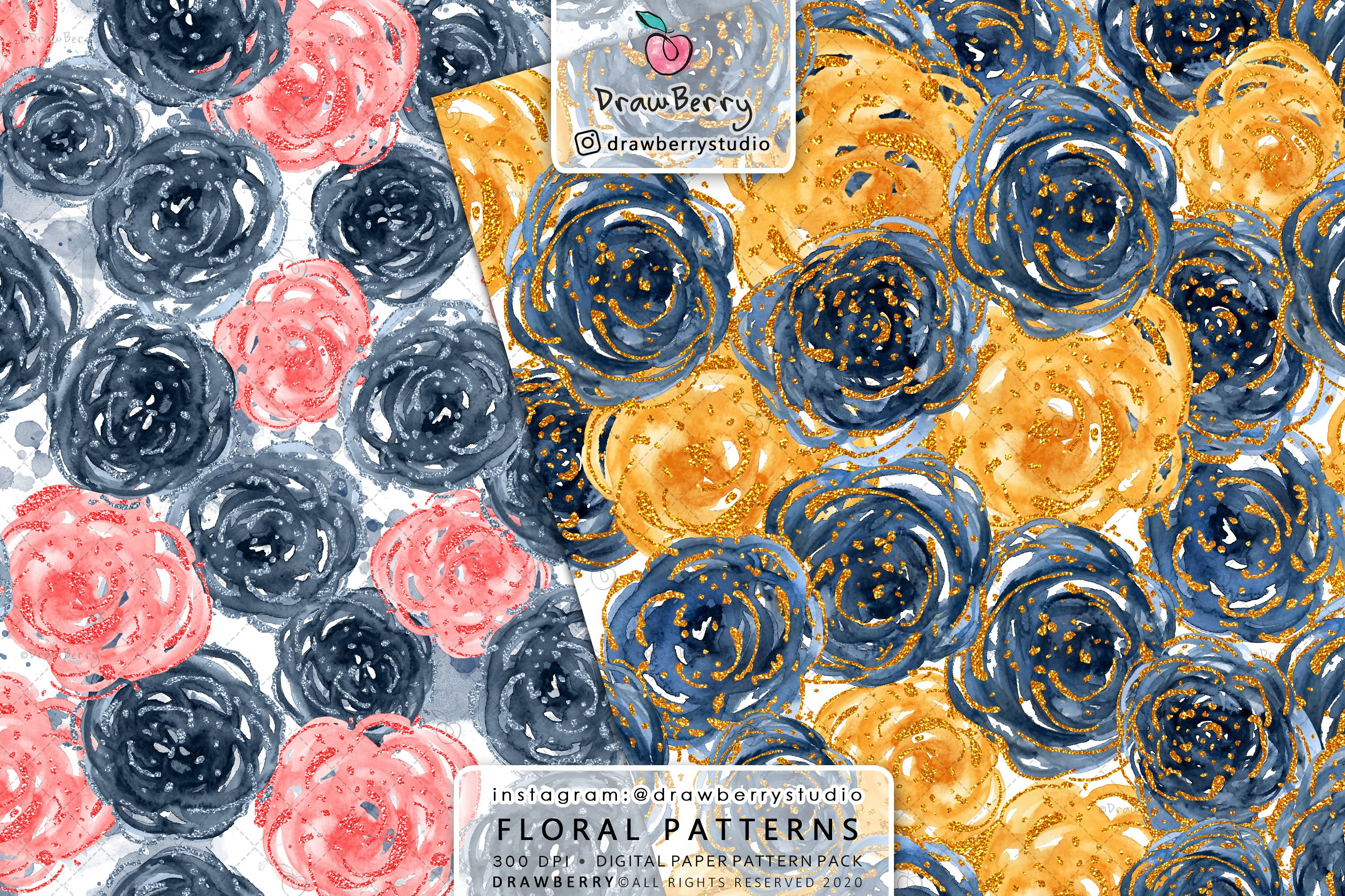 Watercolor Floral Pattern Pack example image 2