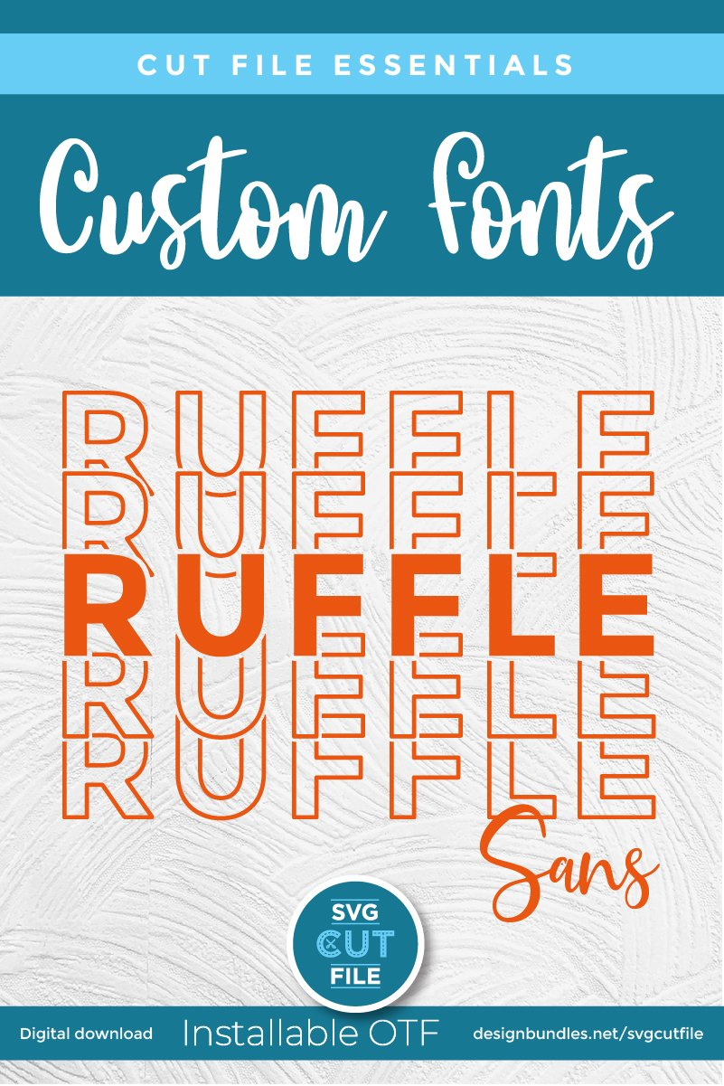 Ruffle Sans Mirror font with stacked letters - an OTF file example image 5