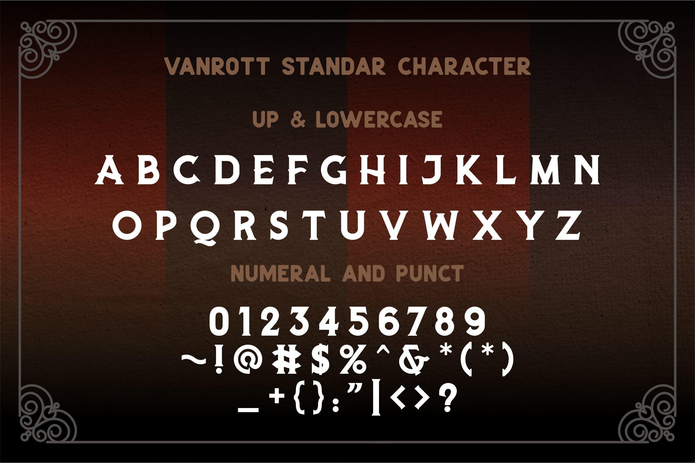 Vanrott - Old Style Font example image 8