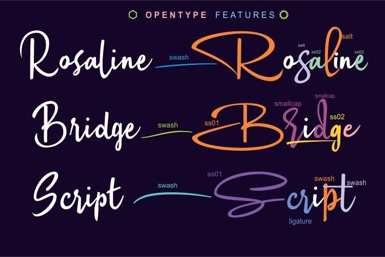 Rosaline Bridge Signature Style font example image 3