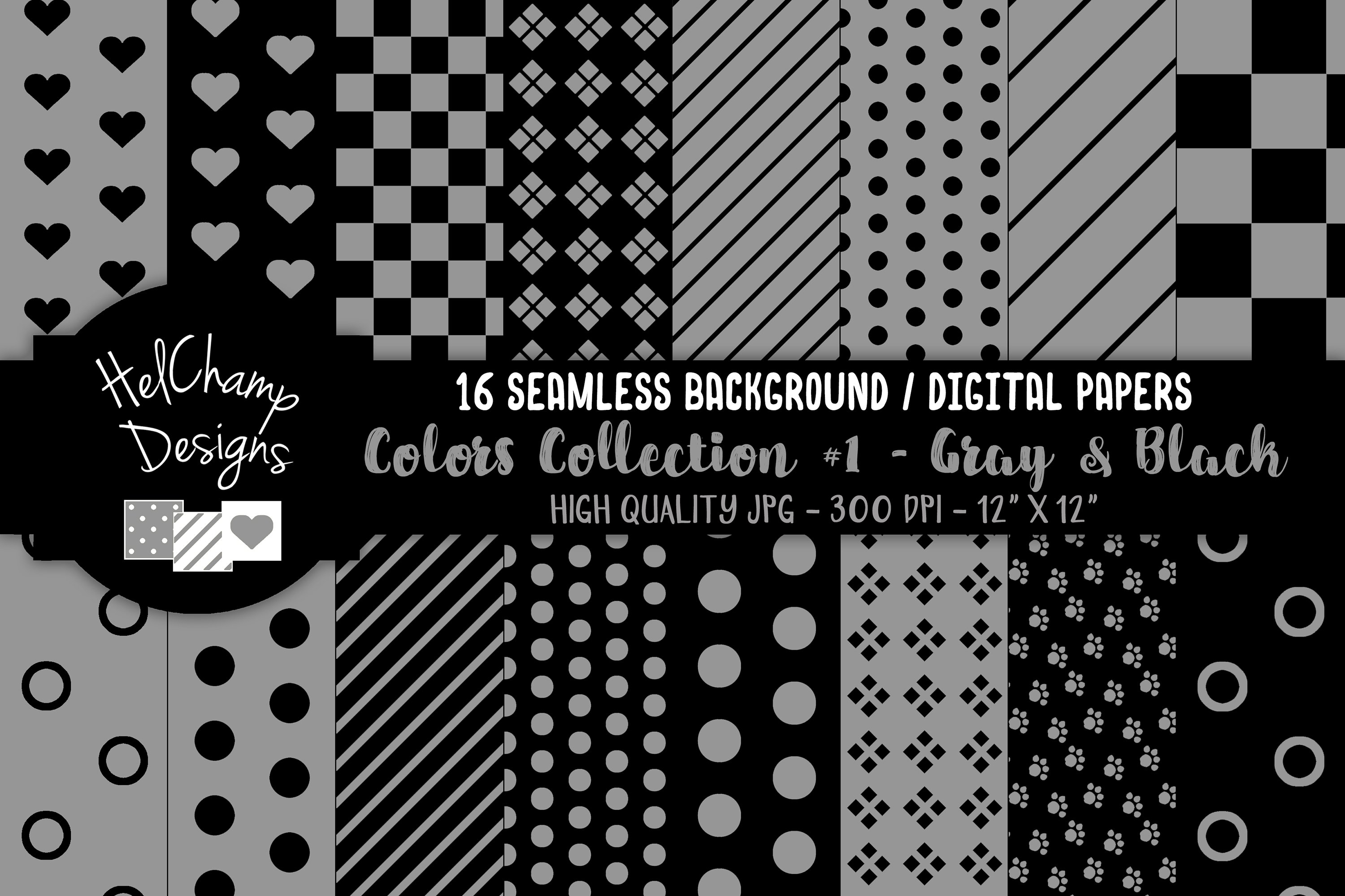 16 seamless Digital Papers - Gray and Black - HC107 example image 1