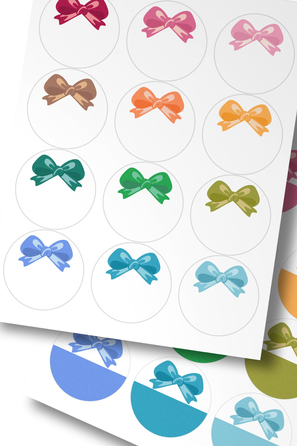 Assorted Colors Bow Round Labels 2.5 in A4 US Editable Text example image 2
