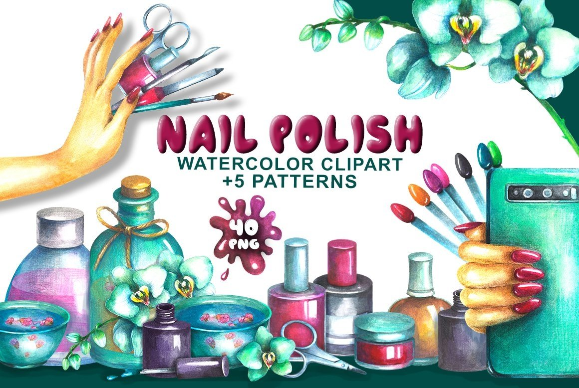 Nail Polish Watercolor clipart example image 1