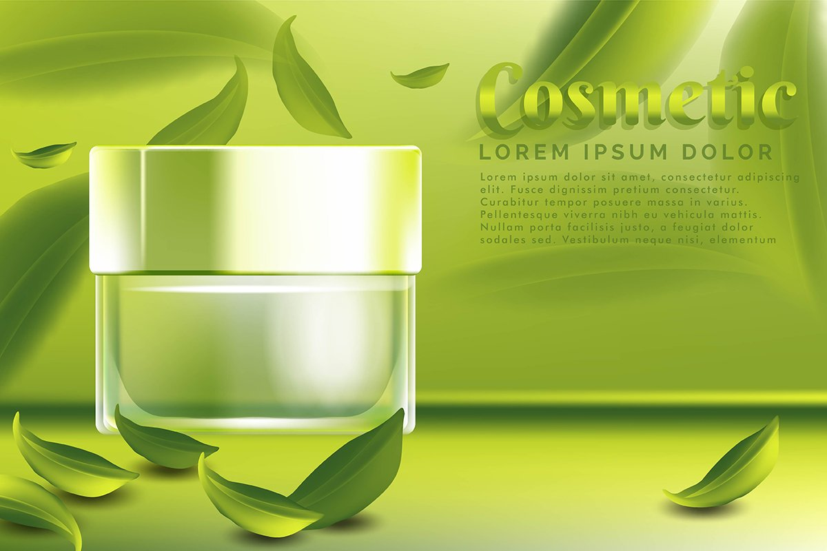 cream jar cosmetic products ad, with green tea leaves backgr example image 1
