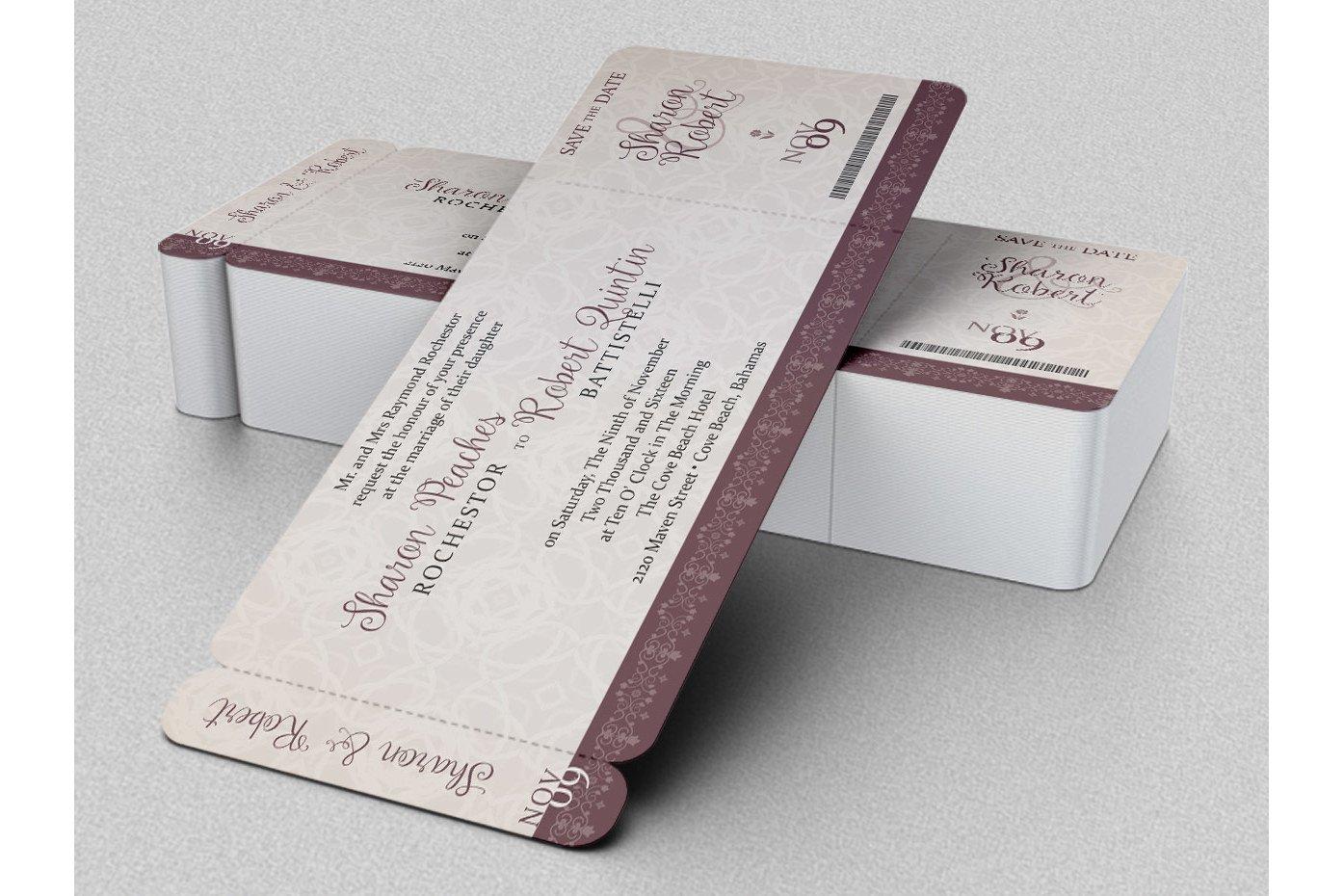 wedding boarding pass invitation template 5387  card