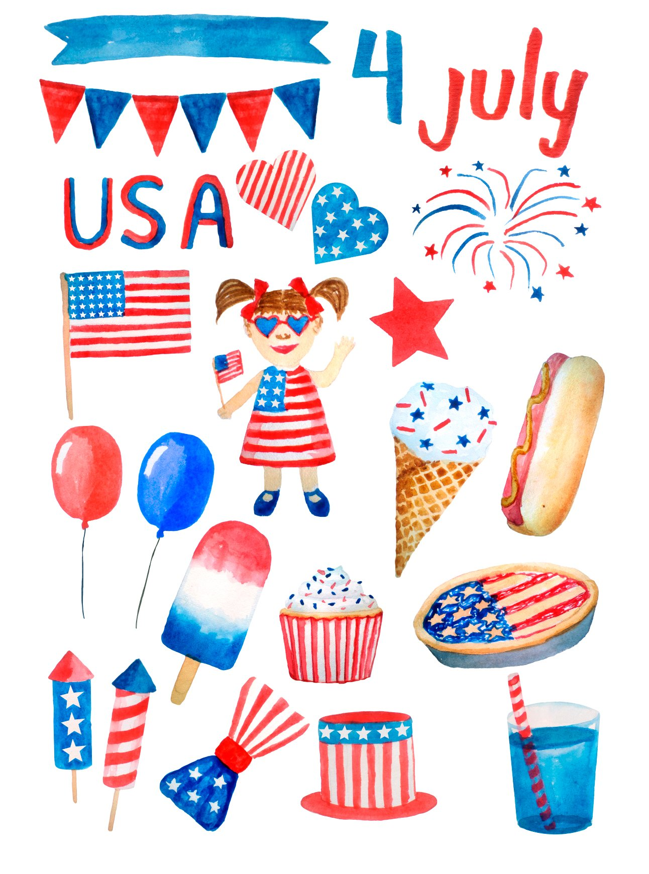 Watercolor 4th of July USA Patriotic Clipart png example image 2