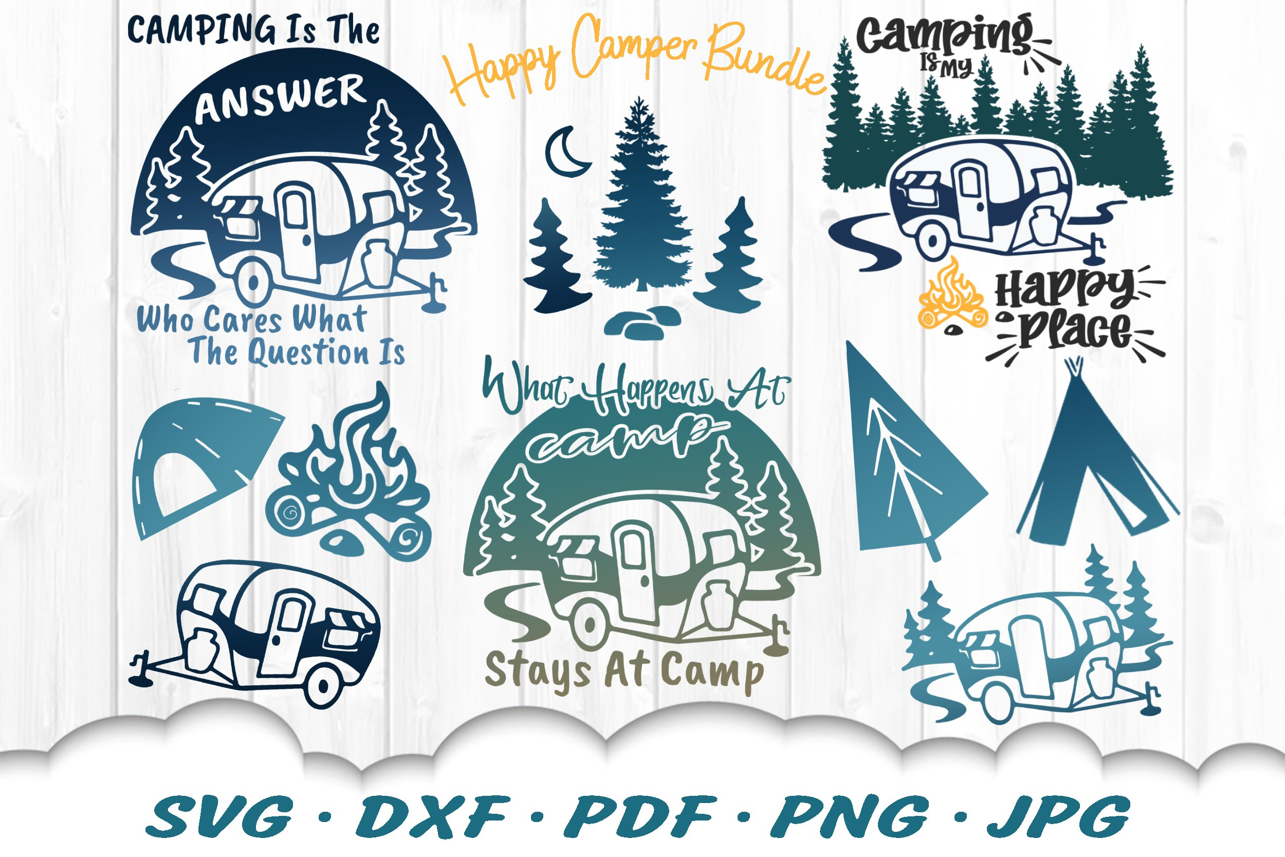 Happy Camper Svg Bundle Camping Svg Dxf Cut Files 668302 Cut Files Design Bundles