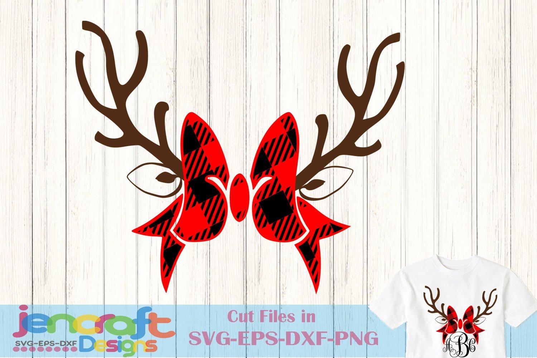 Plaid Antlers Bow Monogram Frame Deer Svg Christmas Svg 154711 Svgs Design Bundles