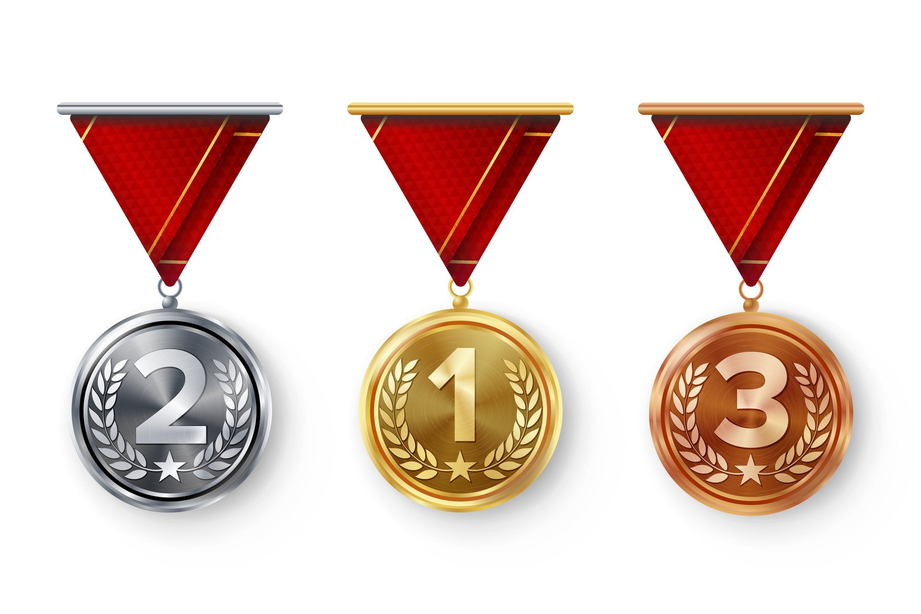 Champion Medals Set Vector. Metal Realistic First example image 1