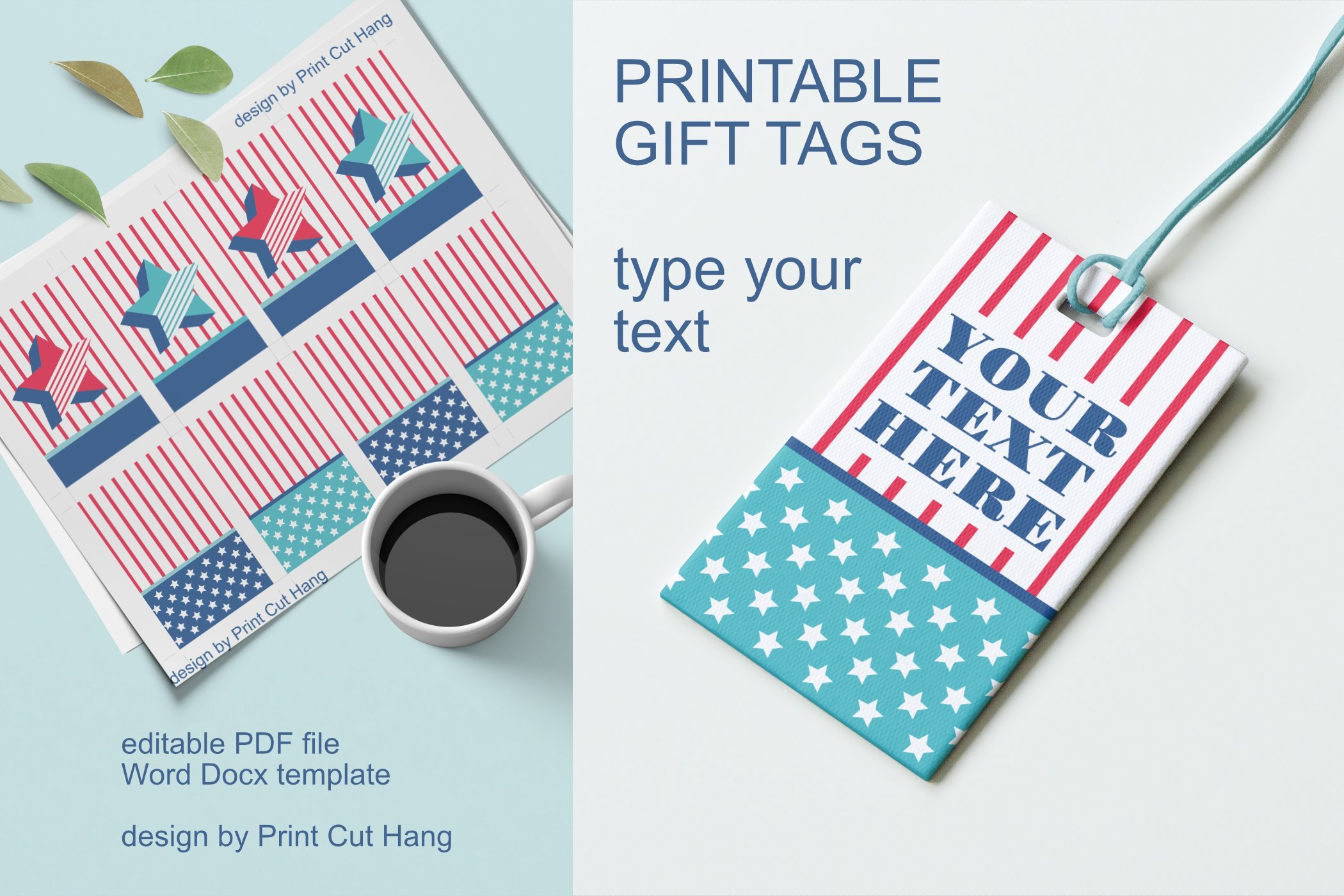 Patriotic Tags with Star Printable Editable PDF Tag Template example image 5