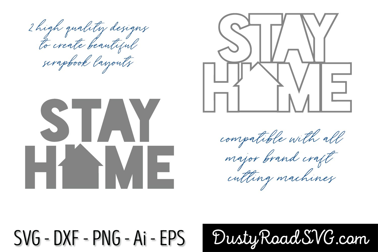 STAY HOME- Scrapbook - cut file - svg png eps dxf example image 2