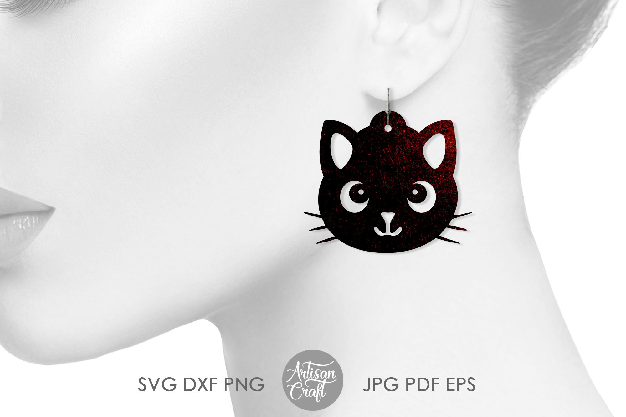Cat earrings, svg, earrings for kids, cute cat earrings example image 5