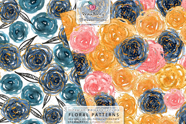 Watercolor Rose Digital Paper Pack example image 3