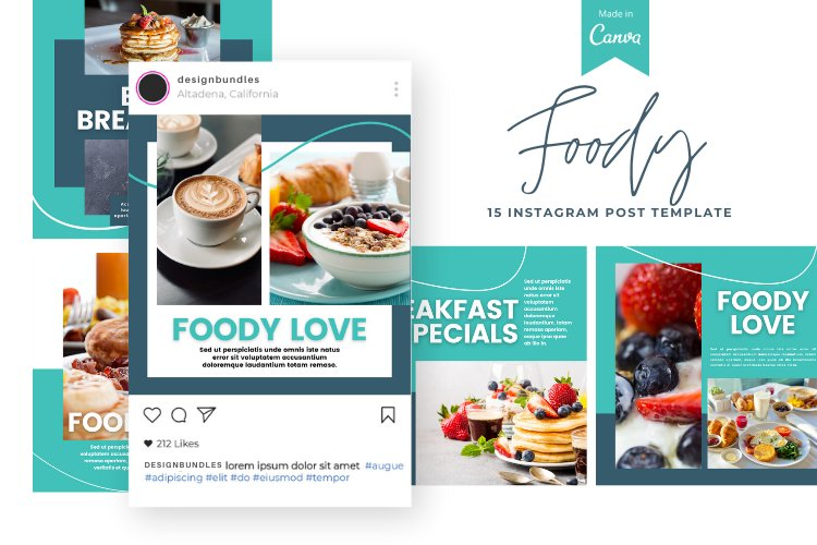 Foody 15 Instagram Square Canva Templates example image 1