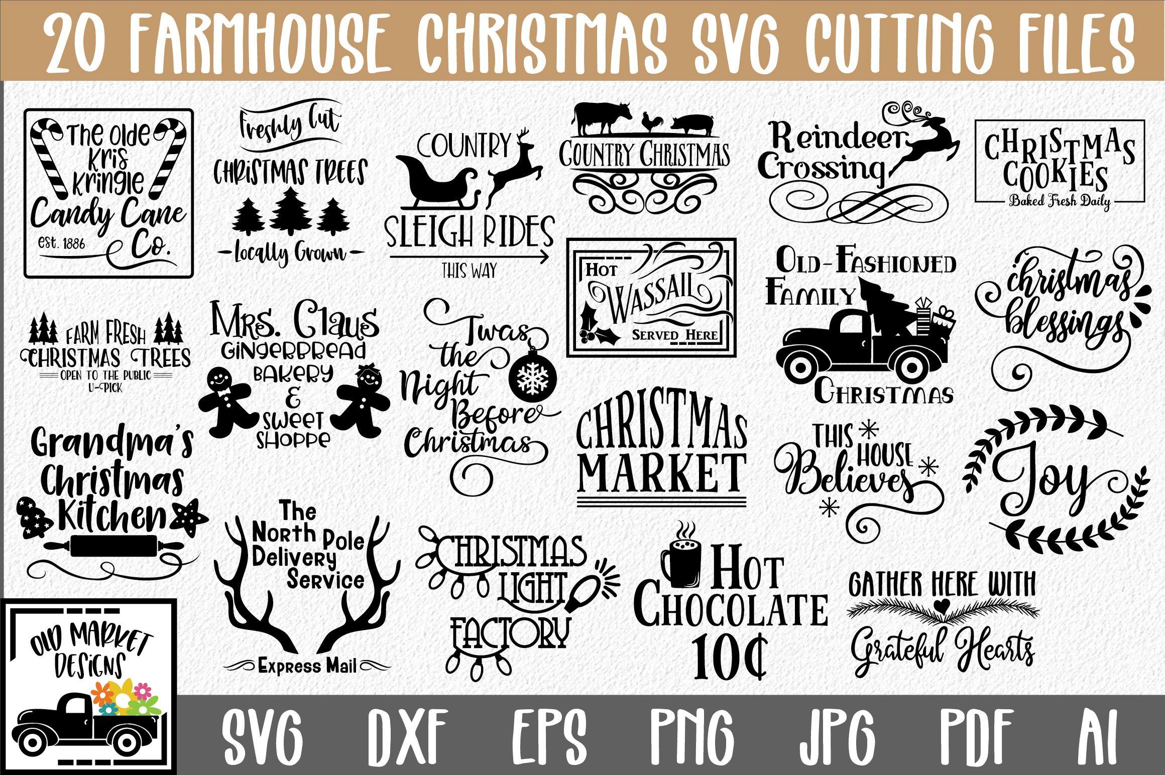 Farmhouse Christmas Svg Bundle With 20 Svg Cut Files 151683 Cut Files Design Bundles