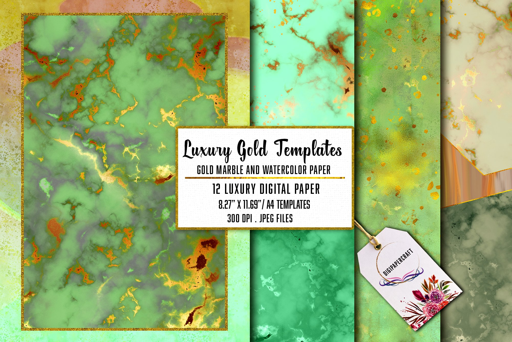 Gold Marble & watercolor geometric templates, Abstract Paper example image 3