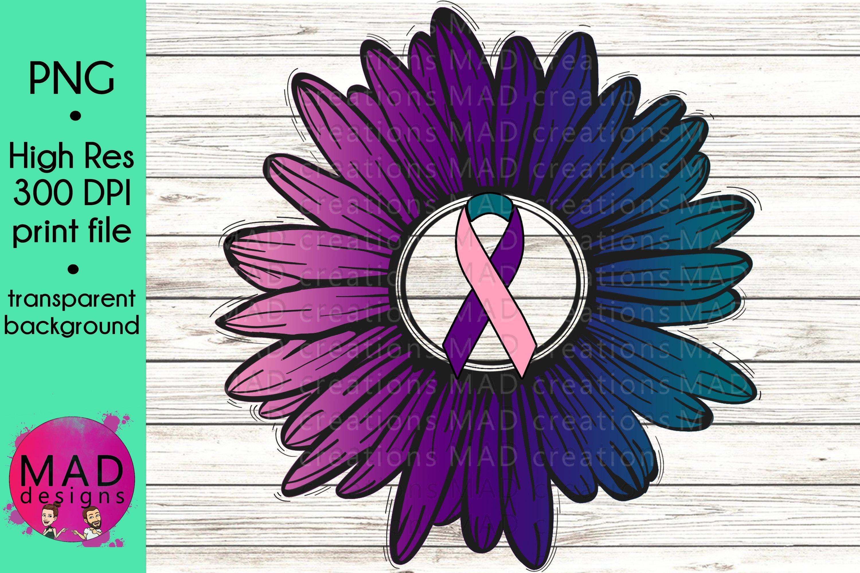Thyroid Cancer Awareness Rustic Sunflower Ribbon 432375