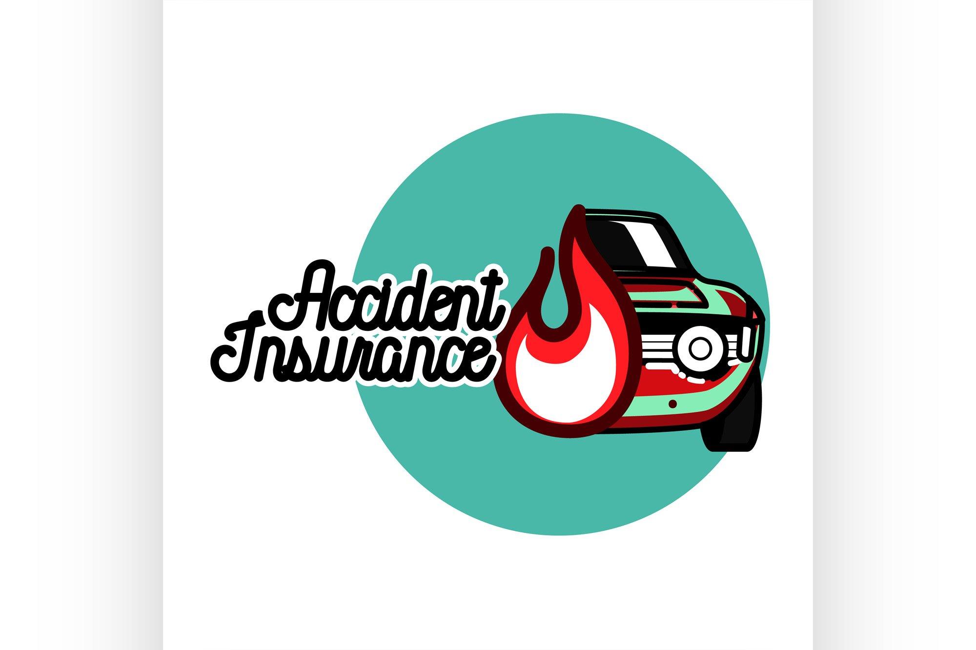 Color vintage accident insurance emblem example image 1