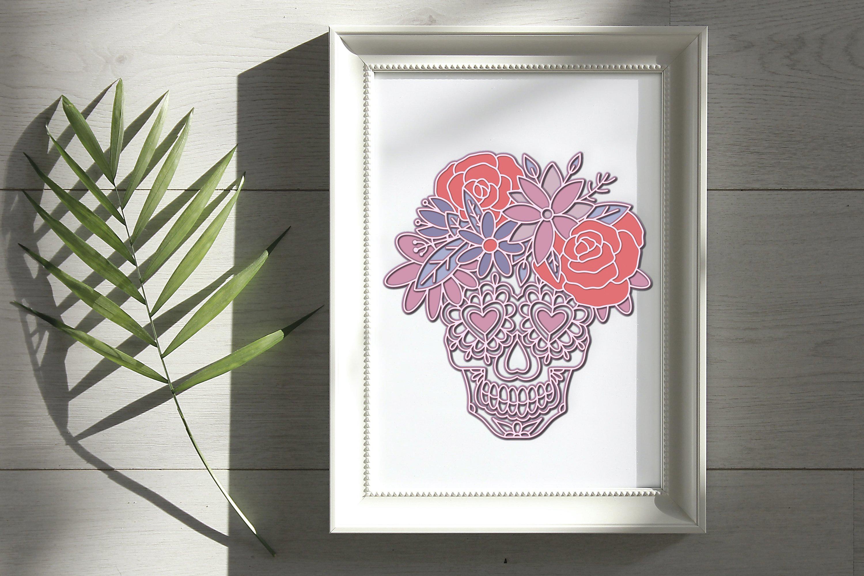 3D Sugar Skull svg Papercut svg Mandala 3d example image 4