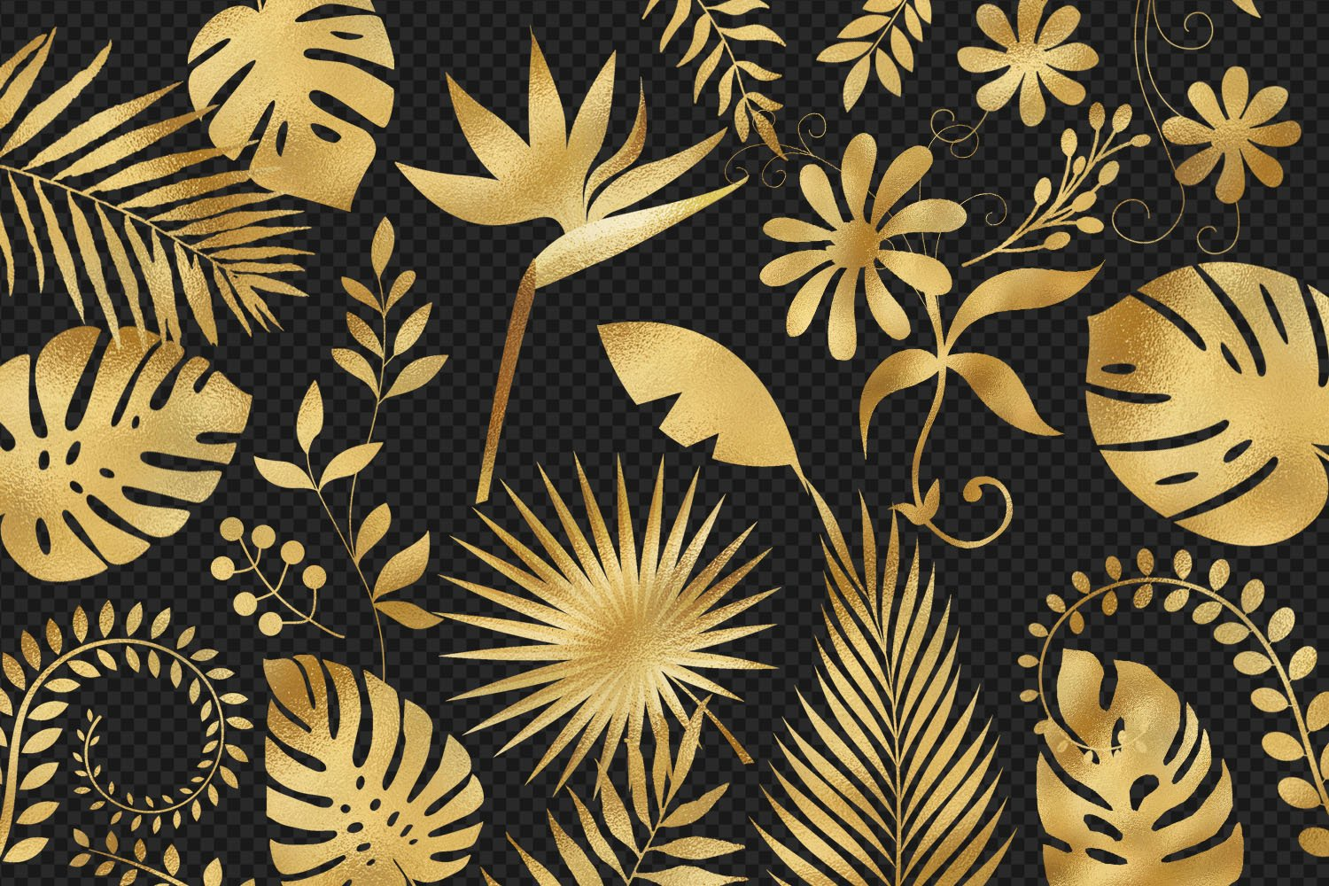 Gold Foil Tropical Leaves Clip Art example image 3