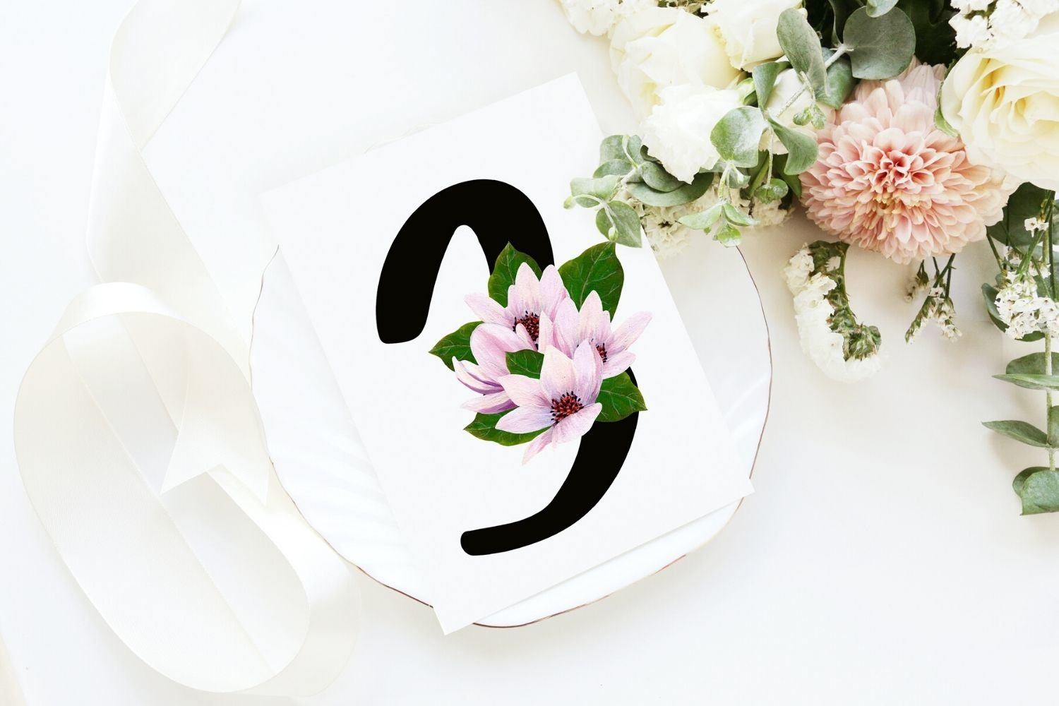 Black Magnolia Alphabet and Number example image 6