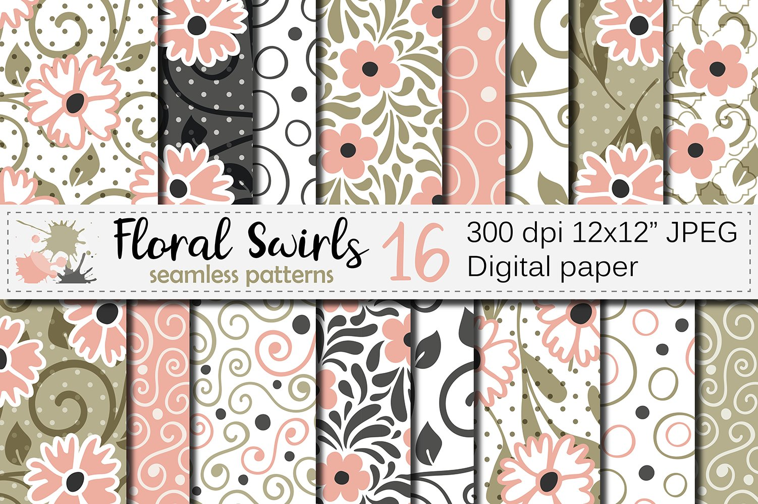 Floral swirls blush peach and green seamless digital paper example image 1