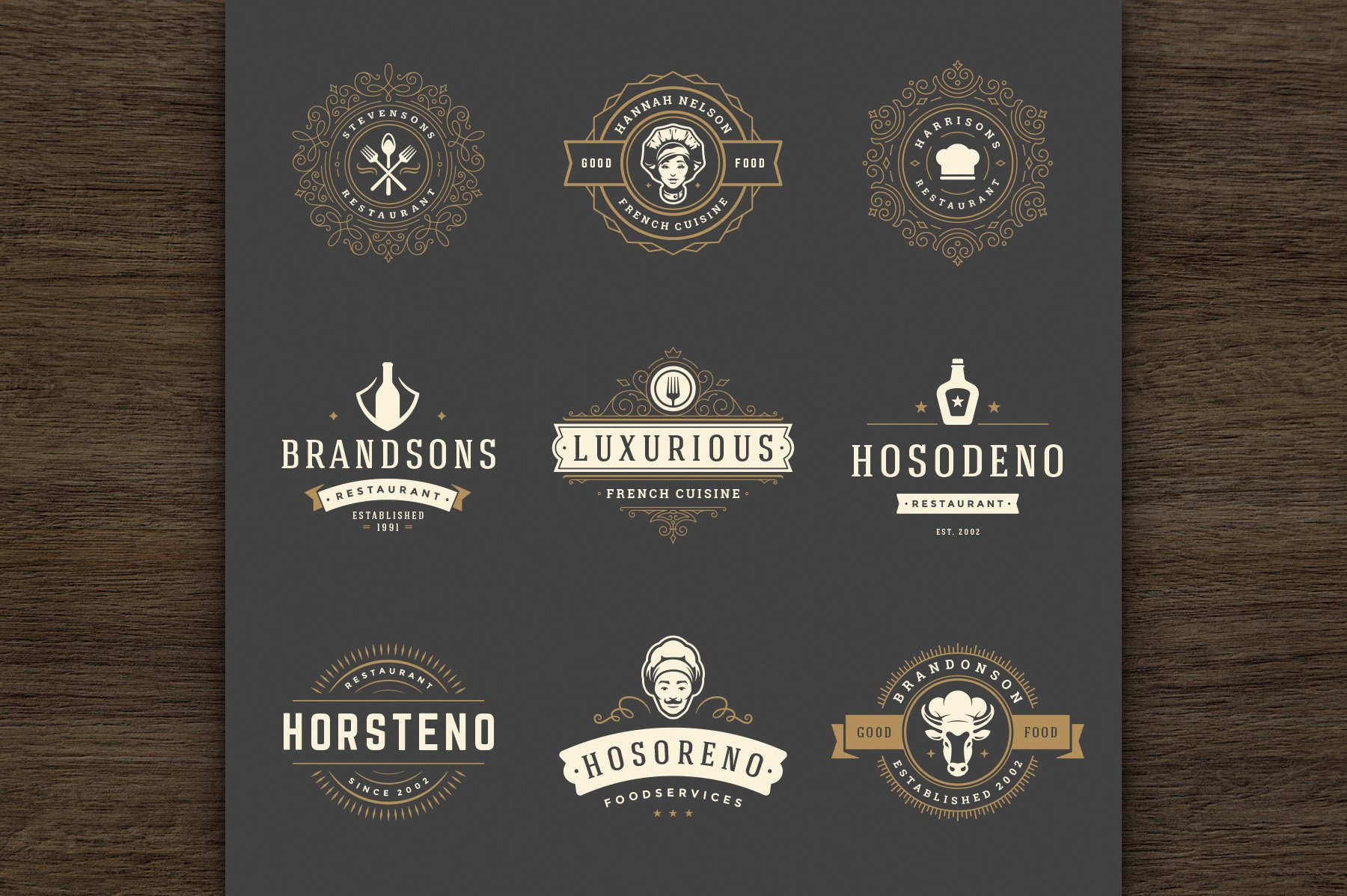 36 Restaurant Logos and Badges example image 5