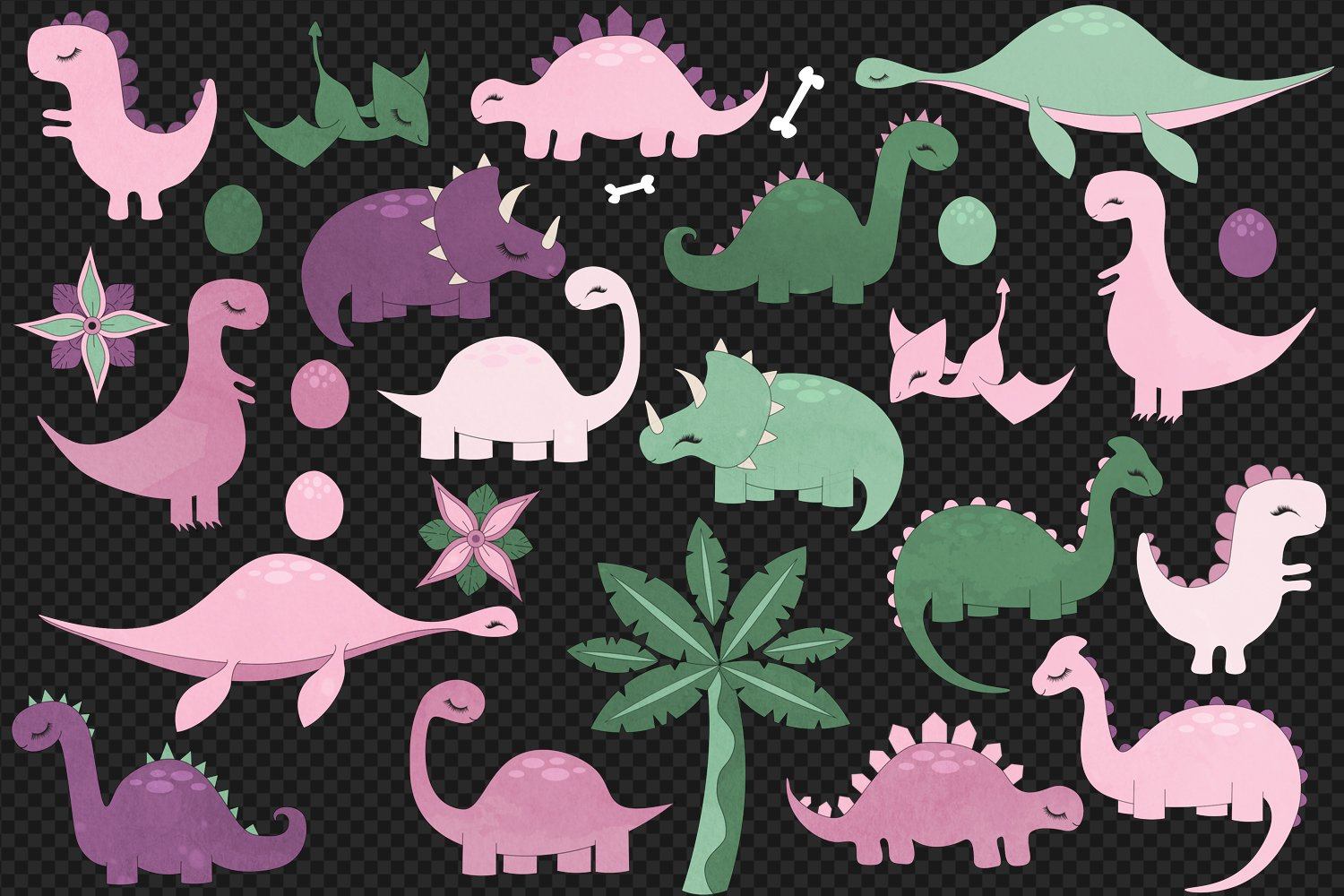 Cute Pink Dinosaurs Clip Art example image 3