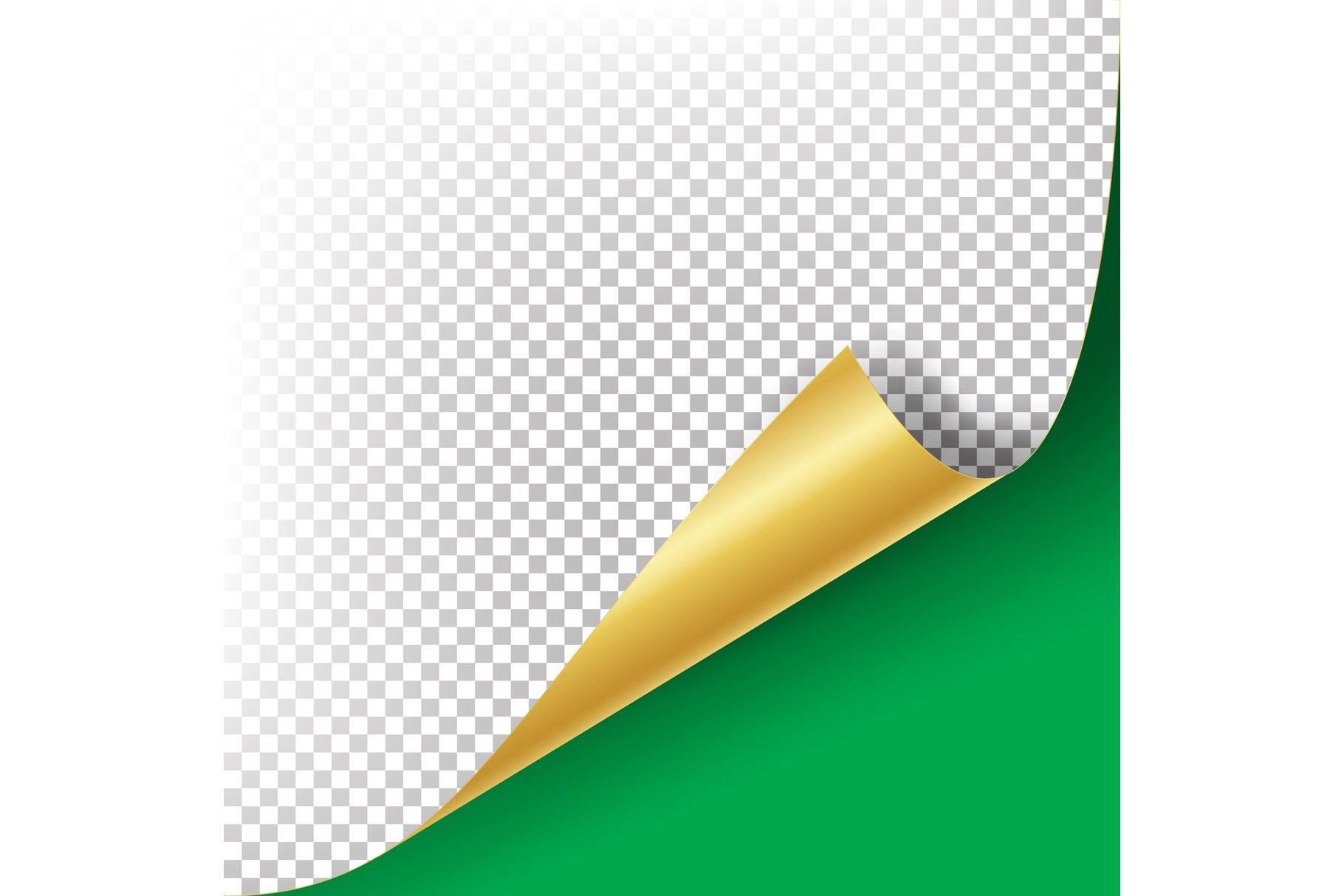 Curled Golden Metalic Corner Vector example image 1