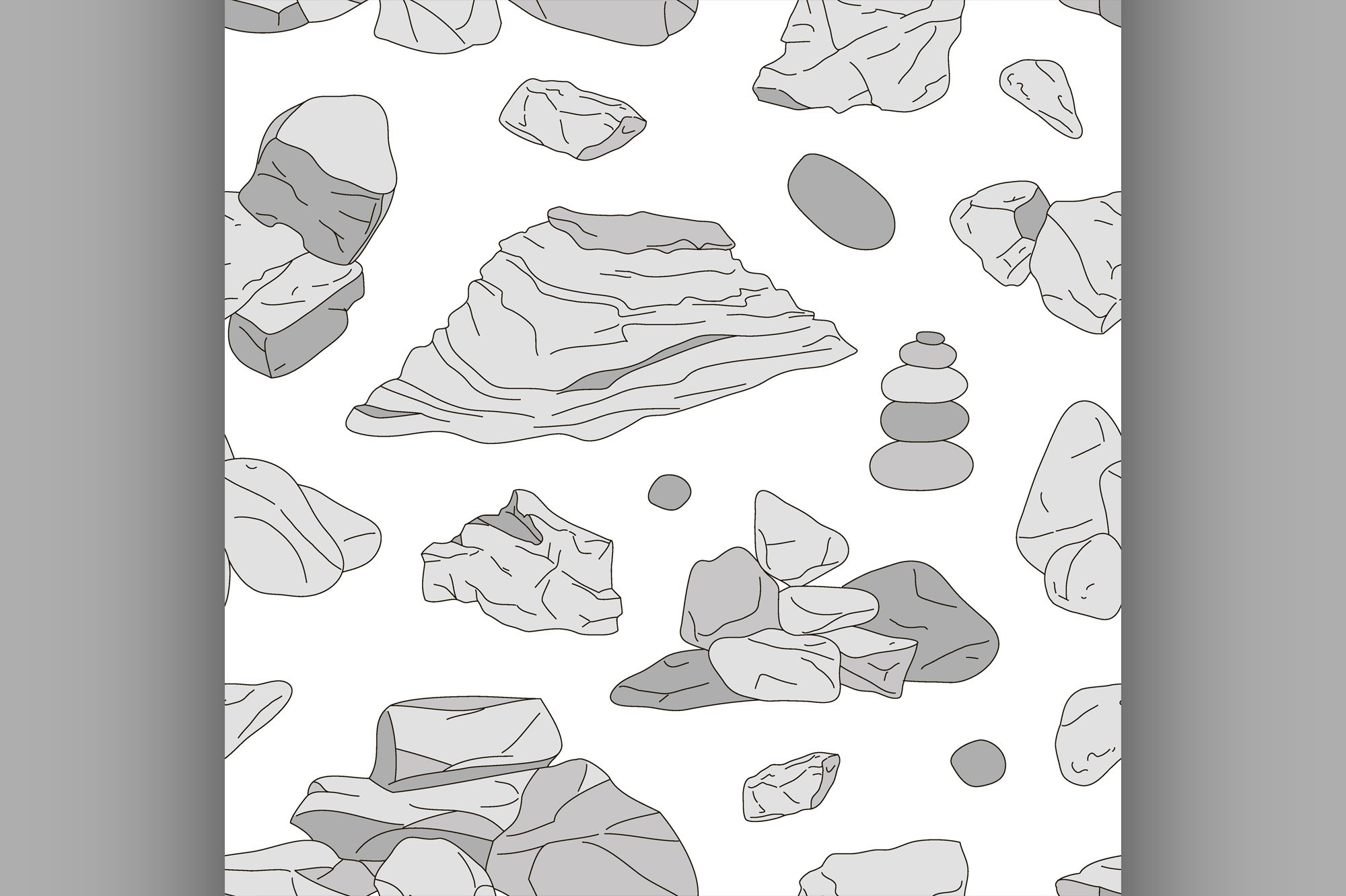 Rocks and stones elements pattern example image 1