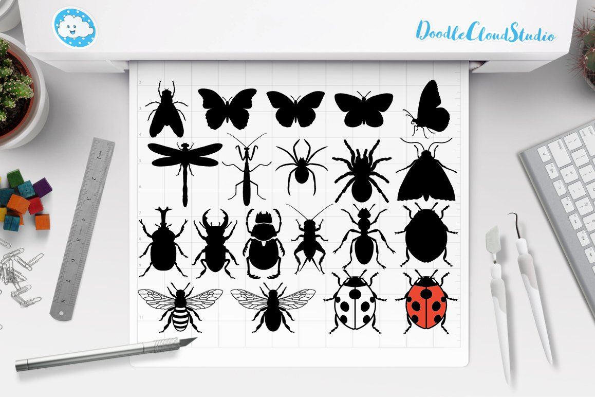 Insects Bundle SVG Cut Files, Insect Clipart, Bugs SVG. example image 1