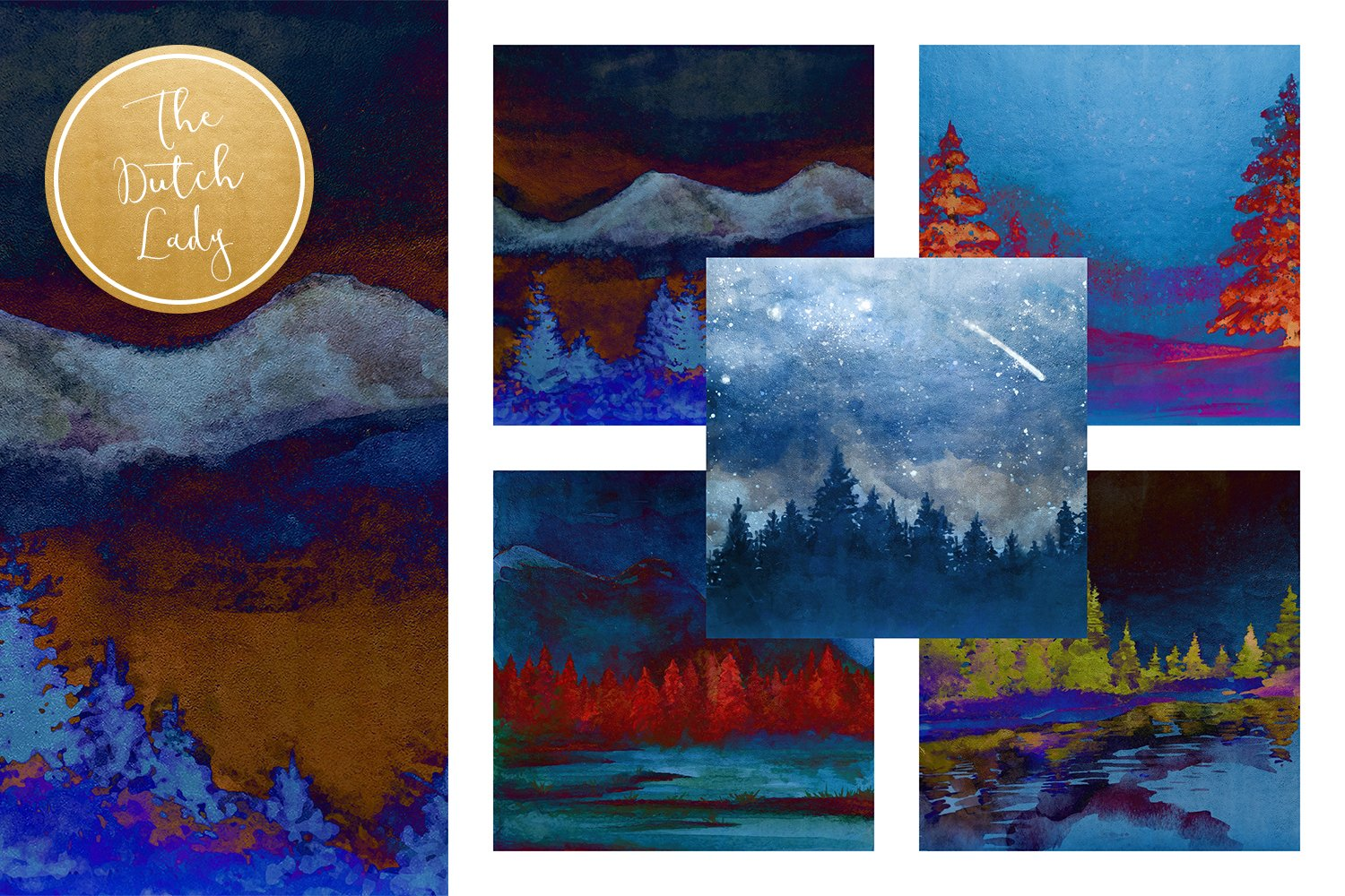 Digital Backgrounds & Papers - Winter Night Forest example image 2
